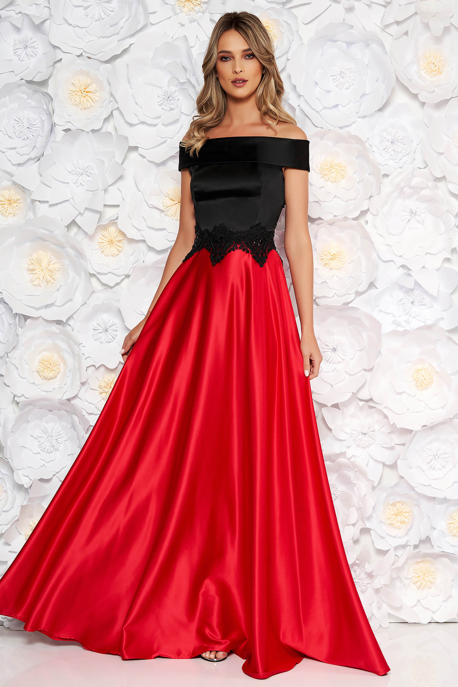 Red occasional cloche dress from satin fabric texture off shoulder handmade emroidered details