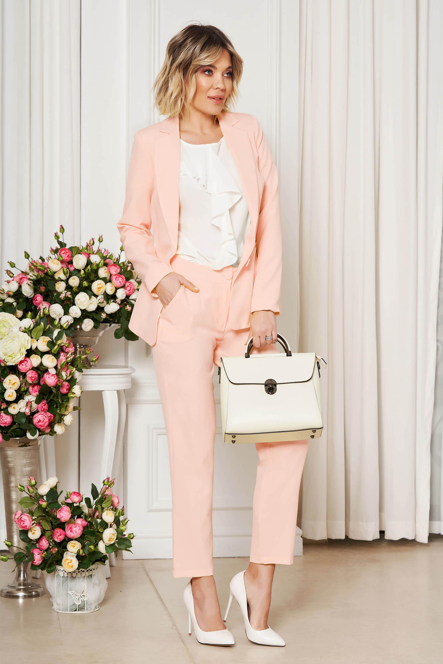 Pantaloni StarShinerS piersica office cu un croi drept din stofa usor elastica cu talie medie si buzunare