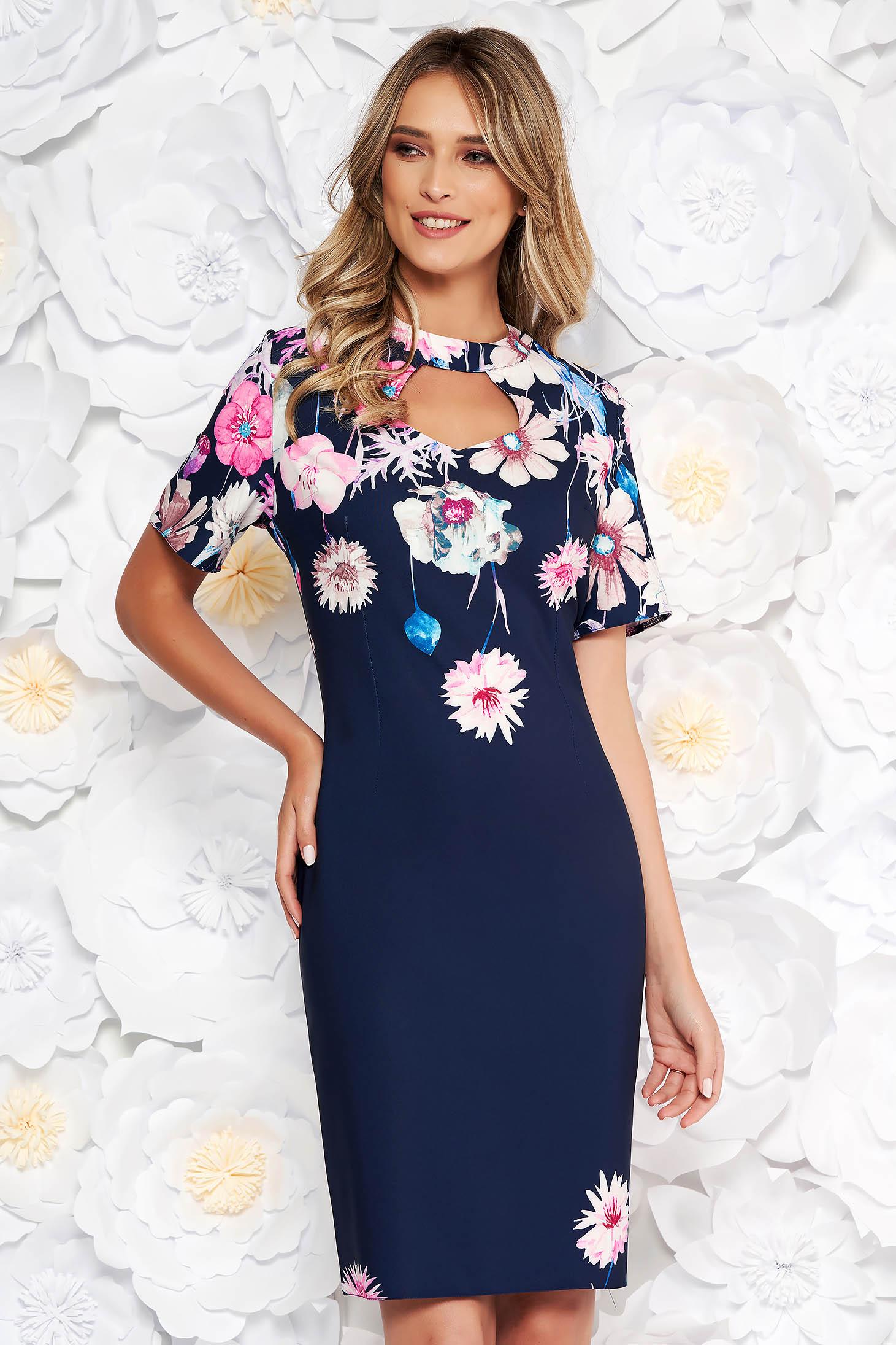 707073015d0b Darkblue elegant pencil dress short sleeve slightly elastic fabric cut ...