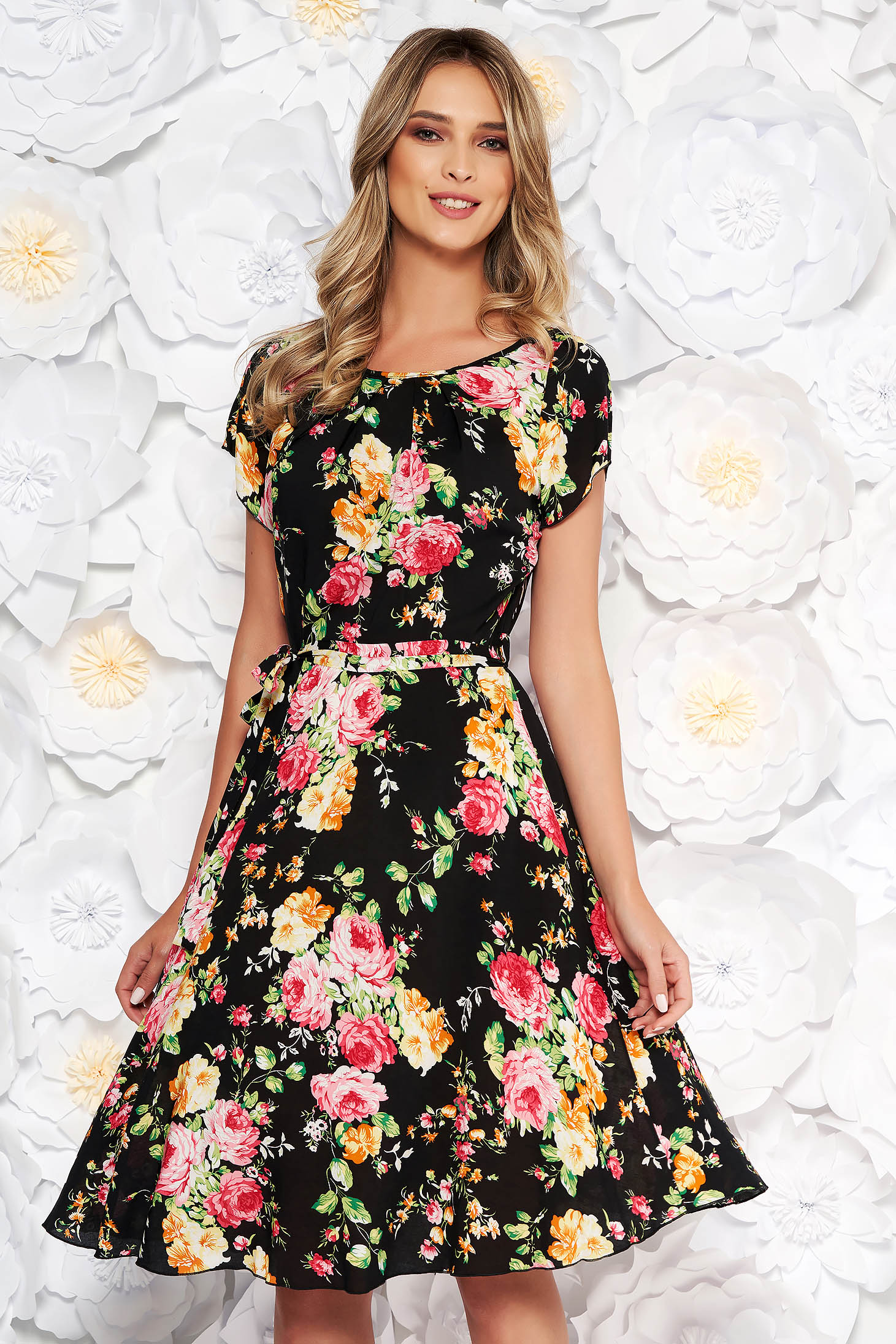 Black daily cloche dress short sleeve thin fabric with floral prints
