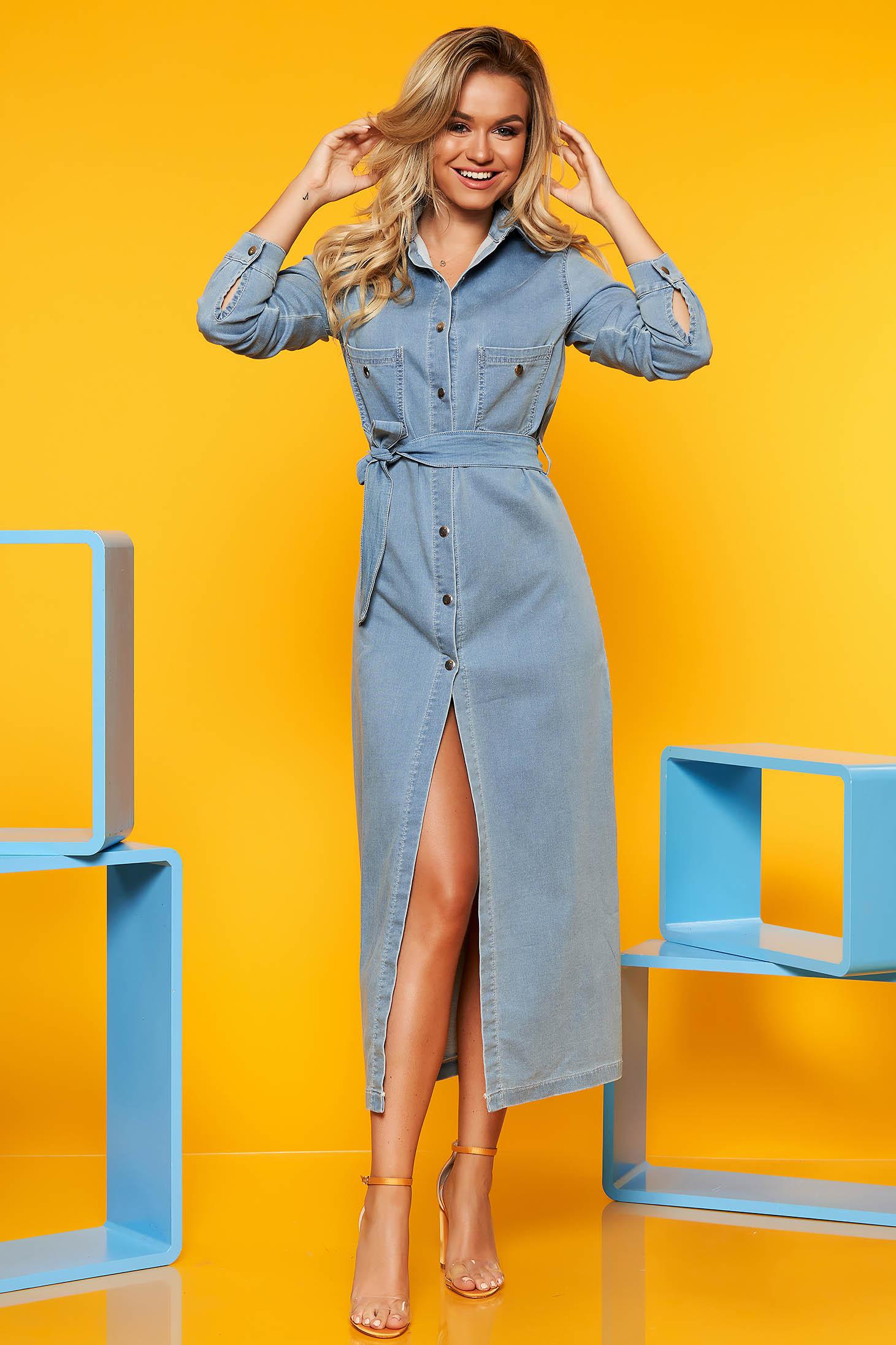 Blue daily straight dress long sleeve denim