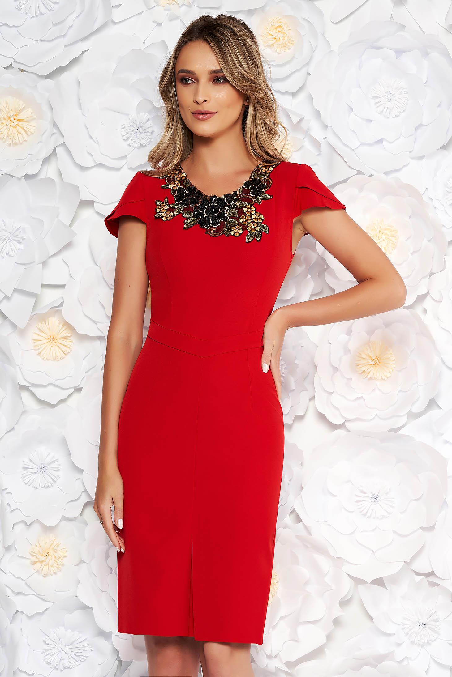 Red elegant pencil dress slightly elastic fabric handmade applications