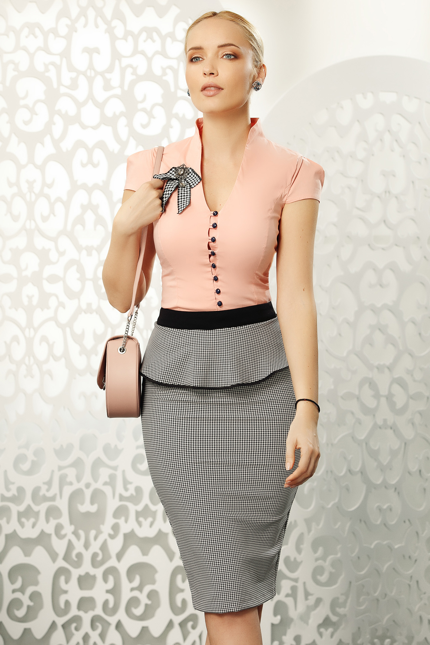Fofy peach elegant women`s shirt tented cotton short sleeve accessorized with breastpin