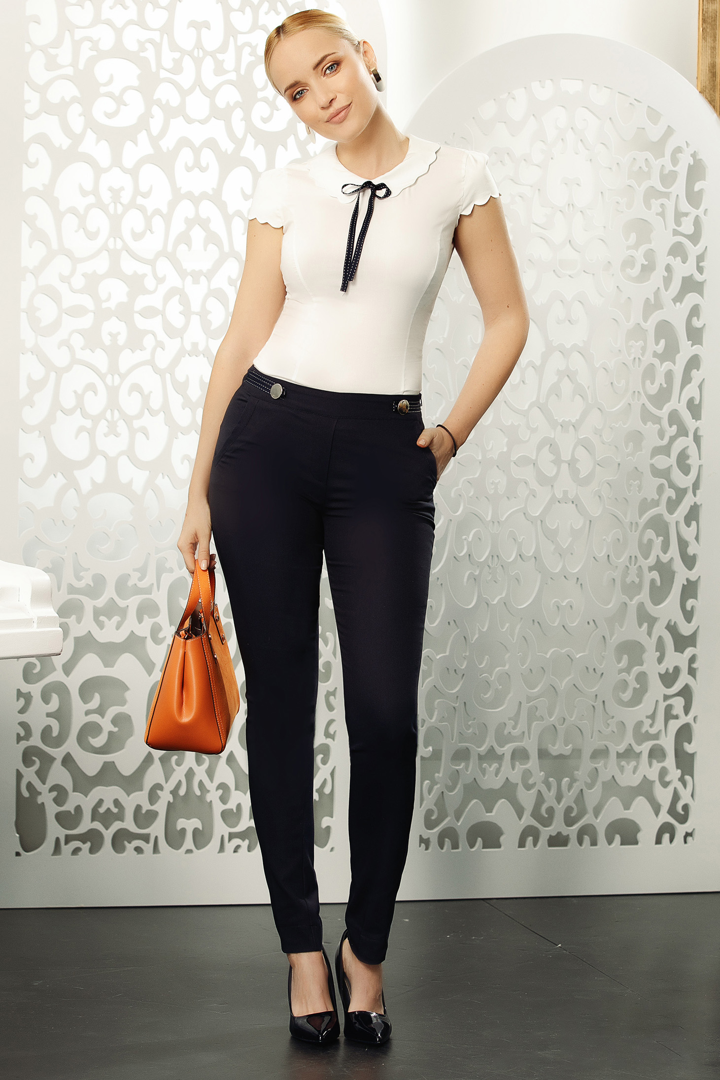 Fofy darkblue elegant cotton conical trousers with medium waist with button accessories