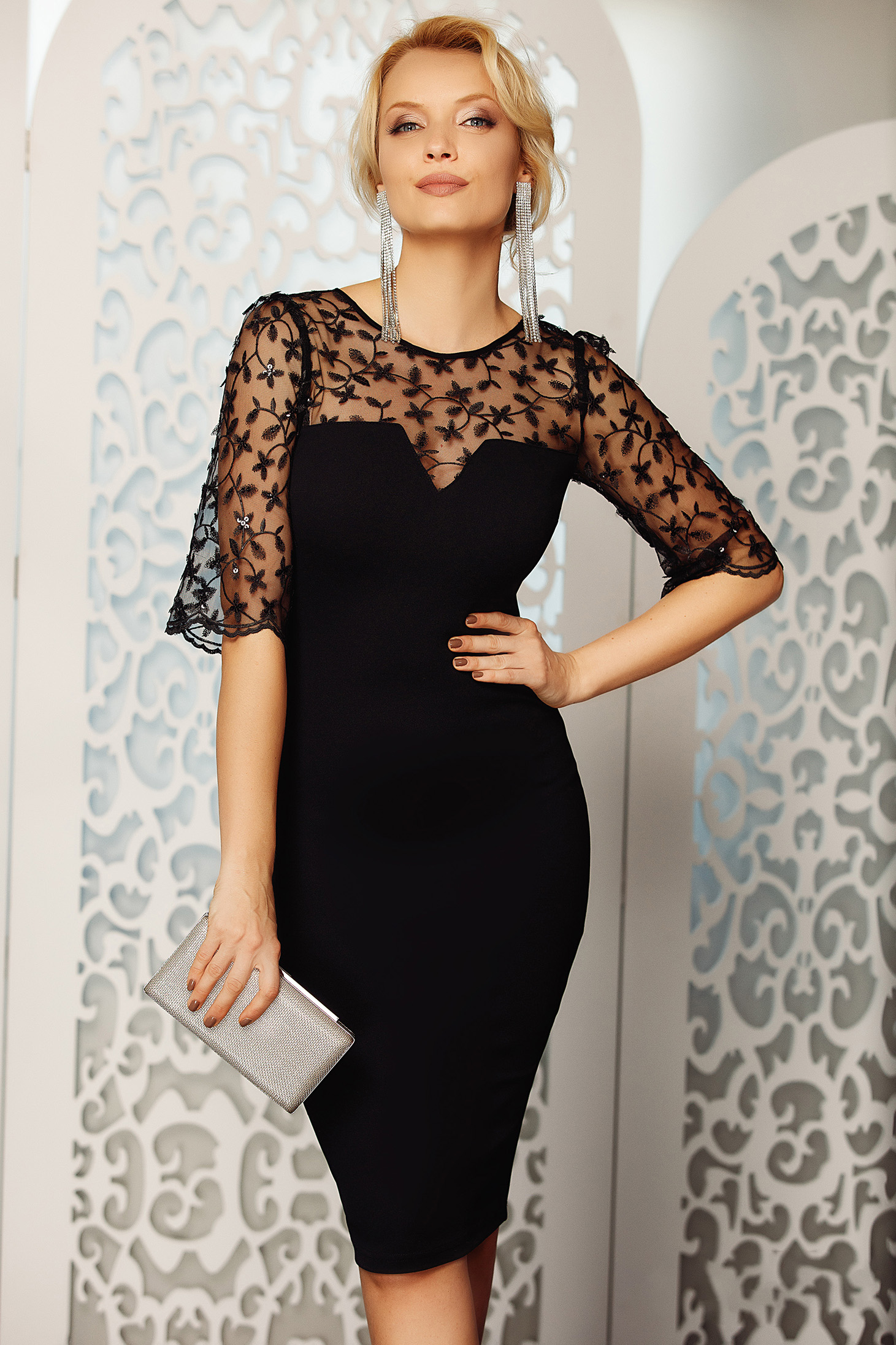 Fofy black occasional pencil dress from elastic and laced fabric with sequin embellished details