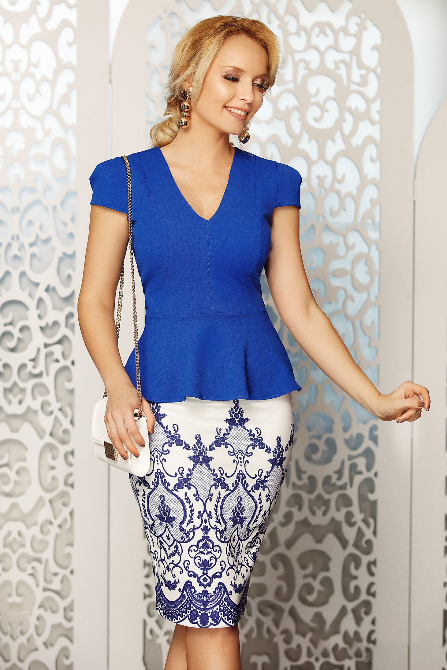 d192cddcb7c5 Fofy blue elegant women`s blouse with v-neckline with tented cut with ...