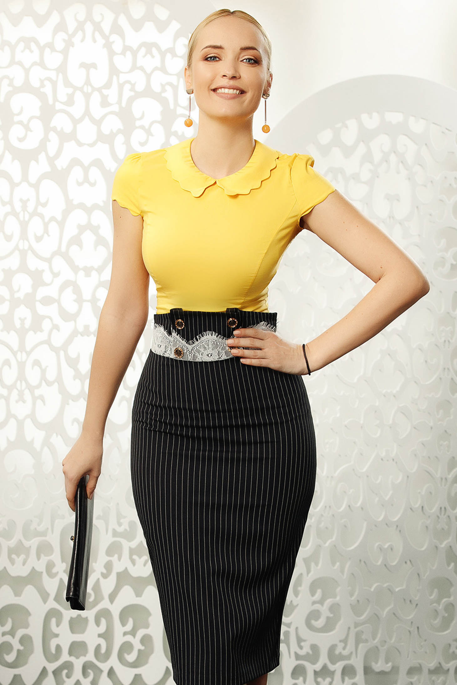 Fofy mustard elegant tented women`s shirt elastic cotton short sleeves