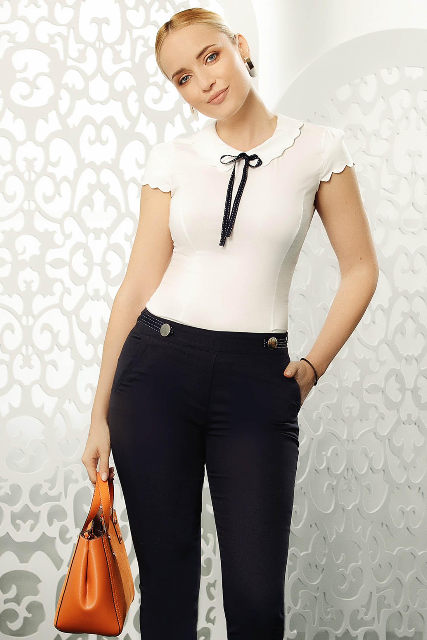 Fehér Fofy elegáns szűk szabású női ing rugalmas pamut rövid ujjakkal