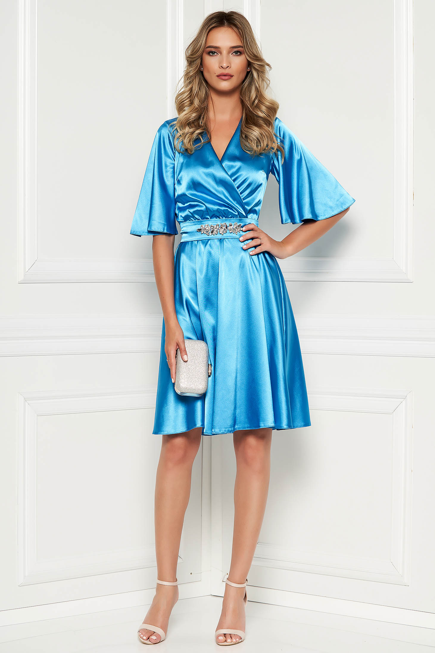 StarShinerS blue occasional dress from satin fabric texture with inside lining accessorized with tied waistband with embellished accessories