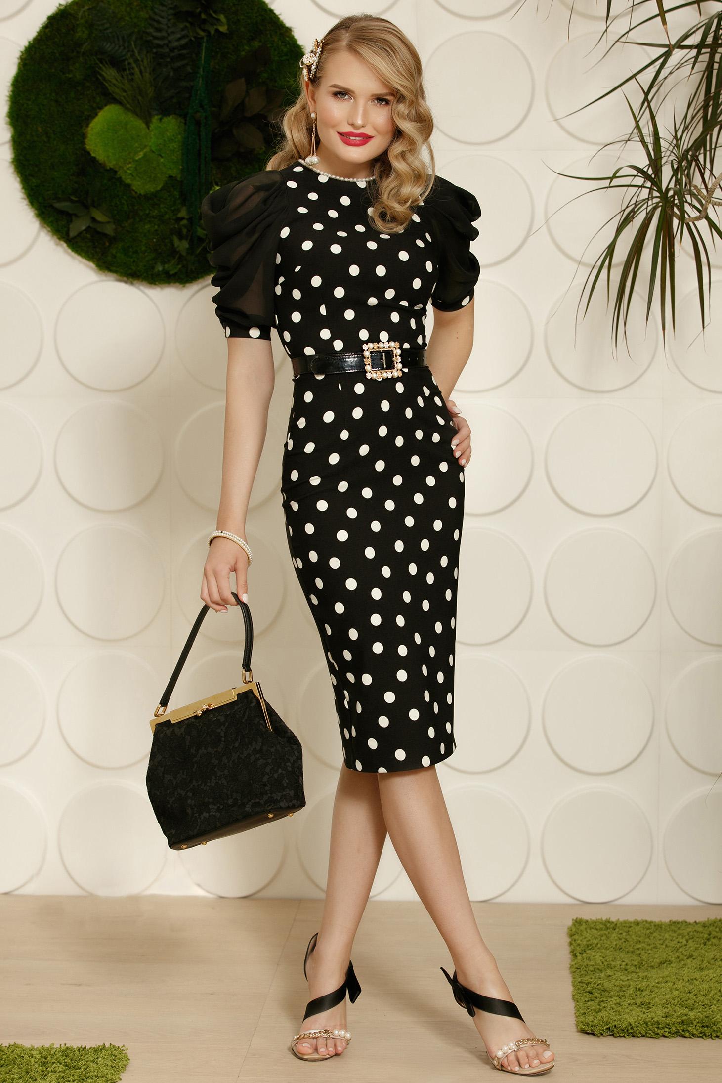 Rochie PrettyGirl neagra midi eleganta tip creion cu aplicatii cu perle accesorizata cu cordon