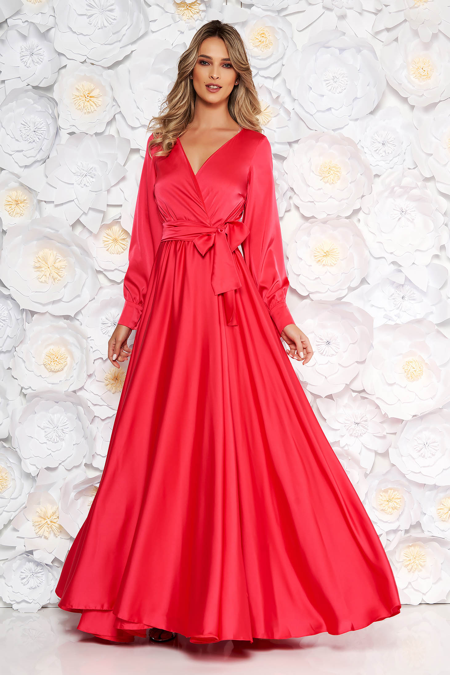 LaDonna coral occasional long cloche dress elastic waist from satin fabric texture