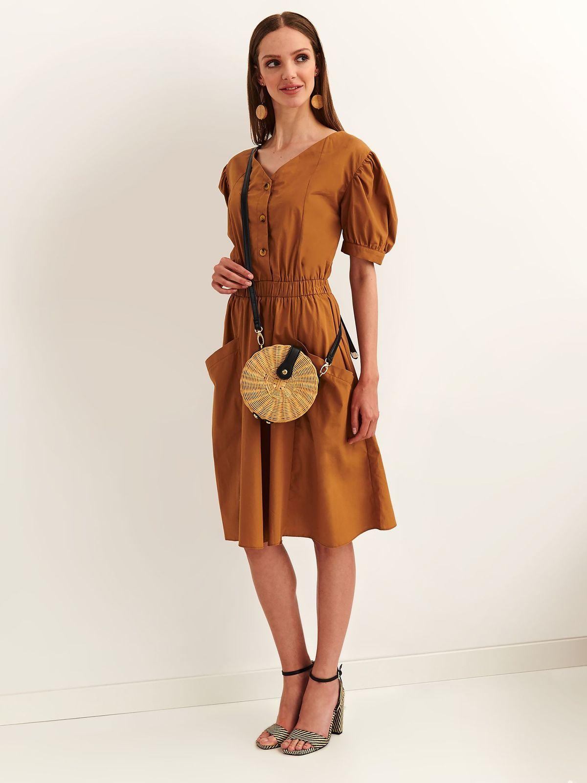 Top Secret lightbrown daily cloche dress cotton with elastic waist short sleeves