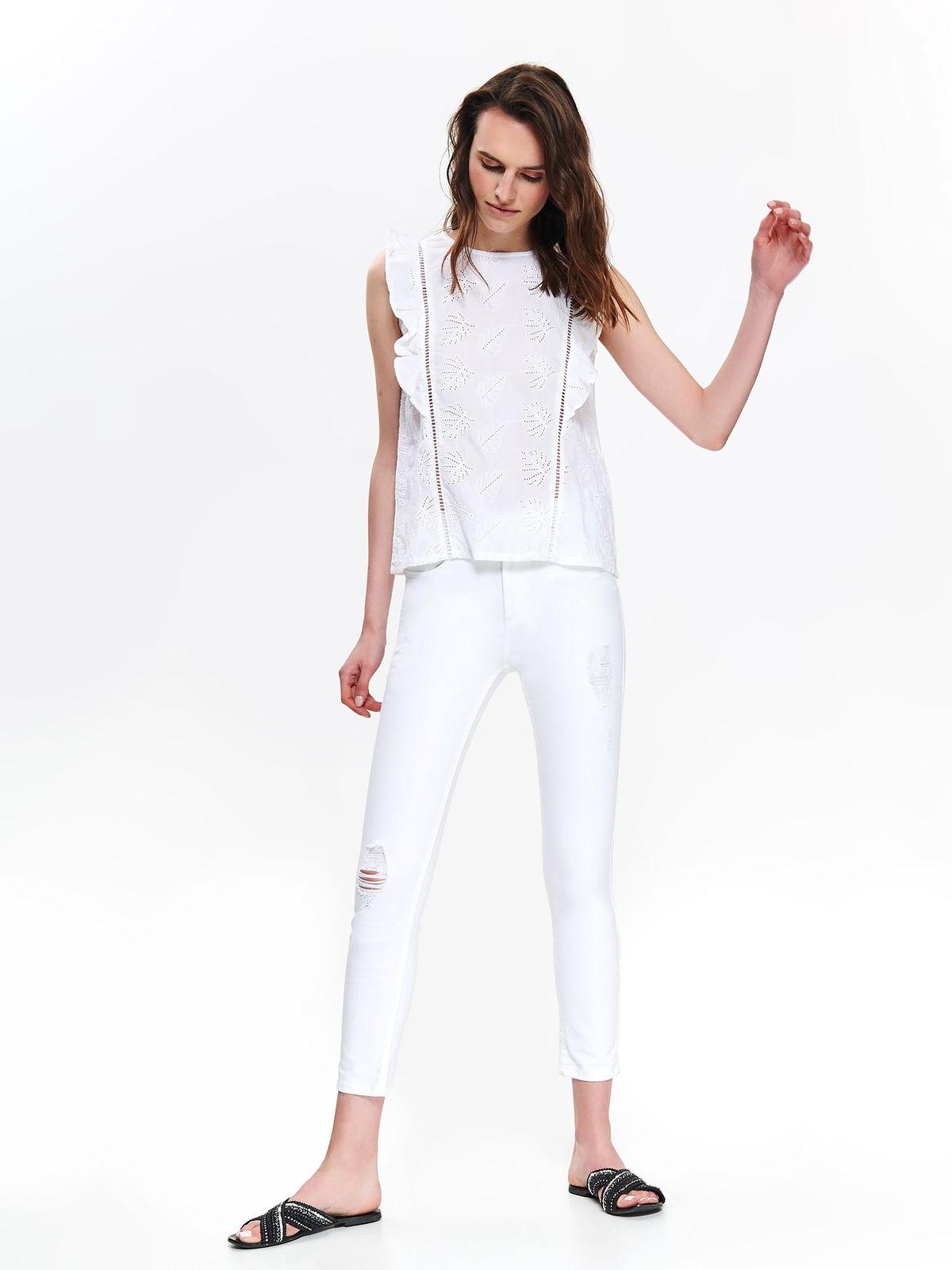 Pantaloni Top Secret albe casual cu talie inalta din bumbac usor elastic