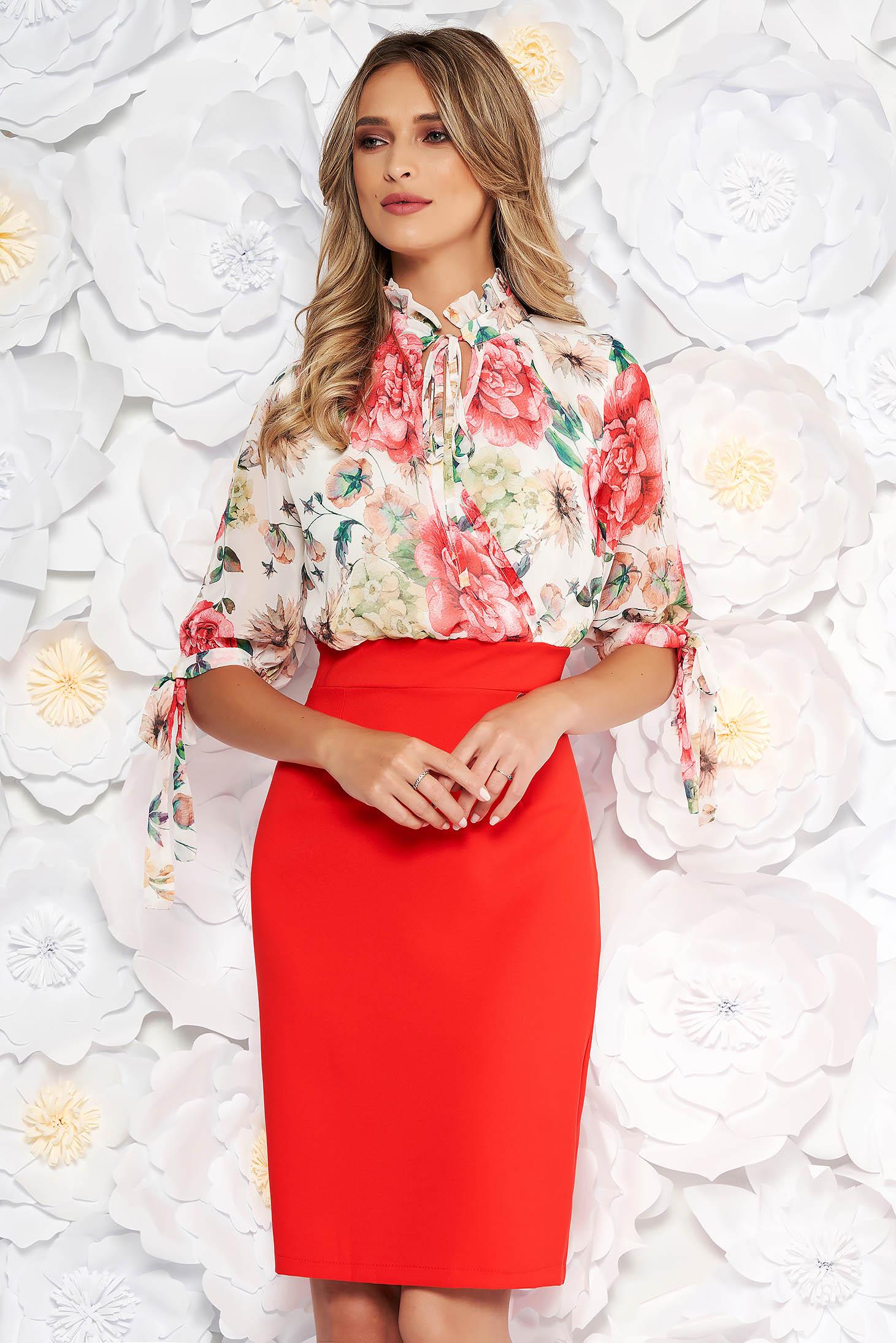 Rochie corai eleganta de zi tip creion cu maneci trei-sferturi cu imprimeuri florale