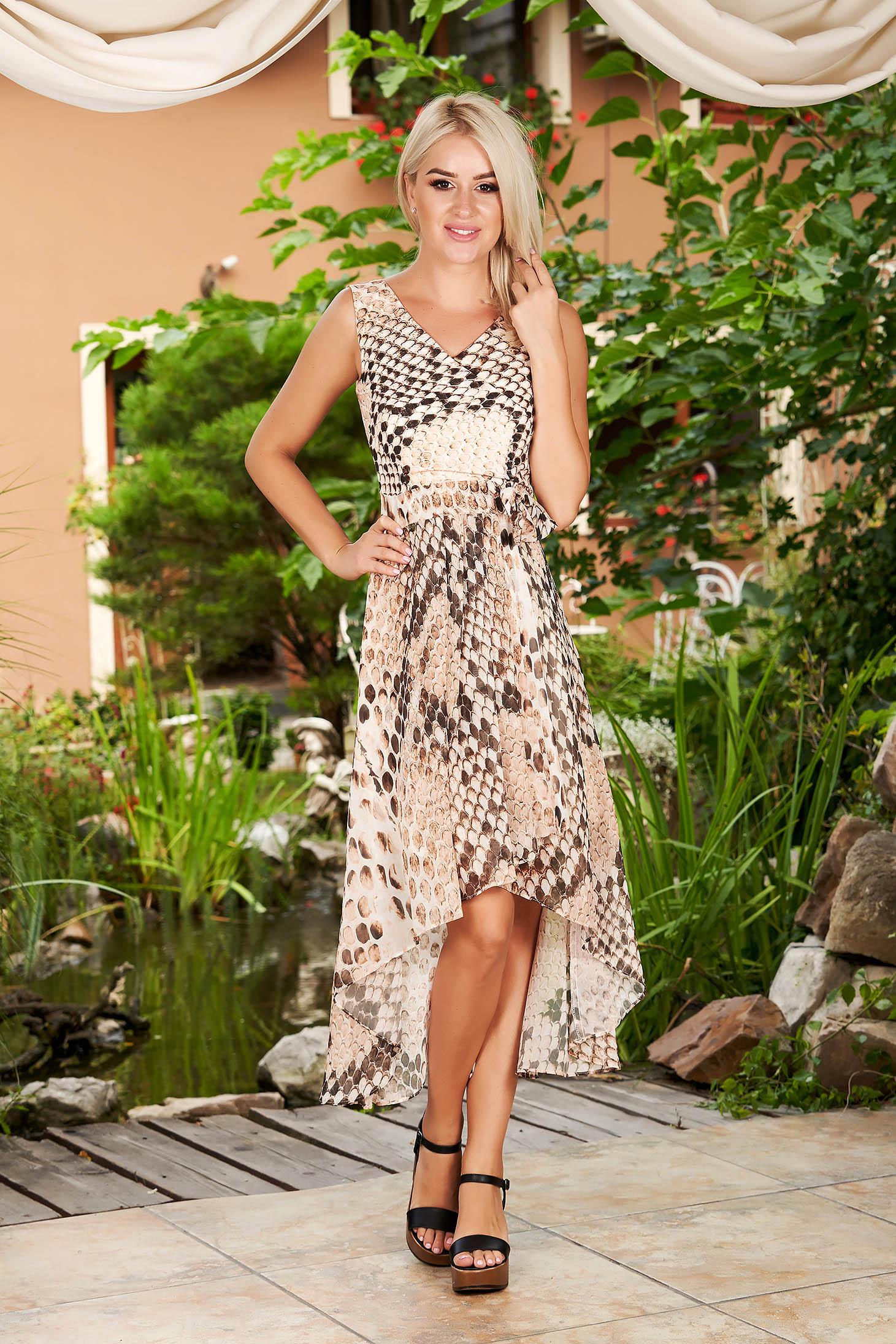 Cappuccino elegant asymmetrical sleeveless cloche dress with v-neckline