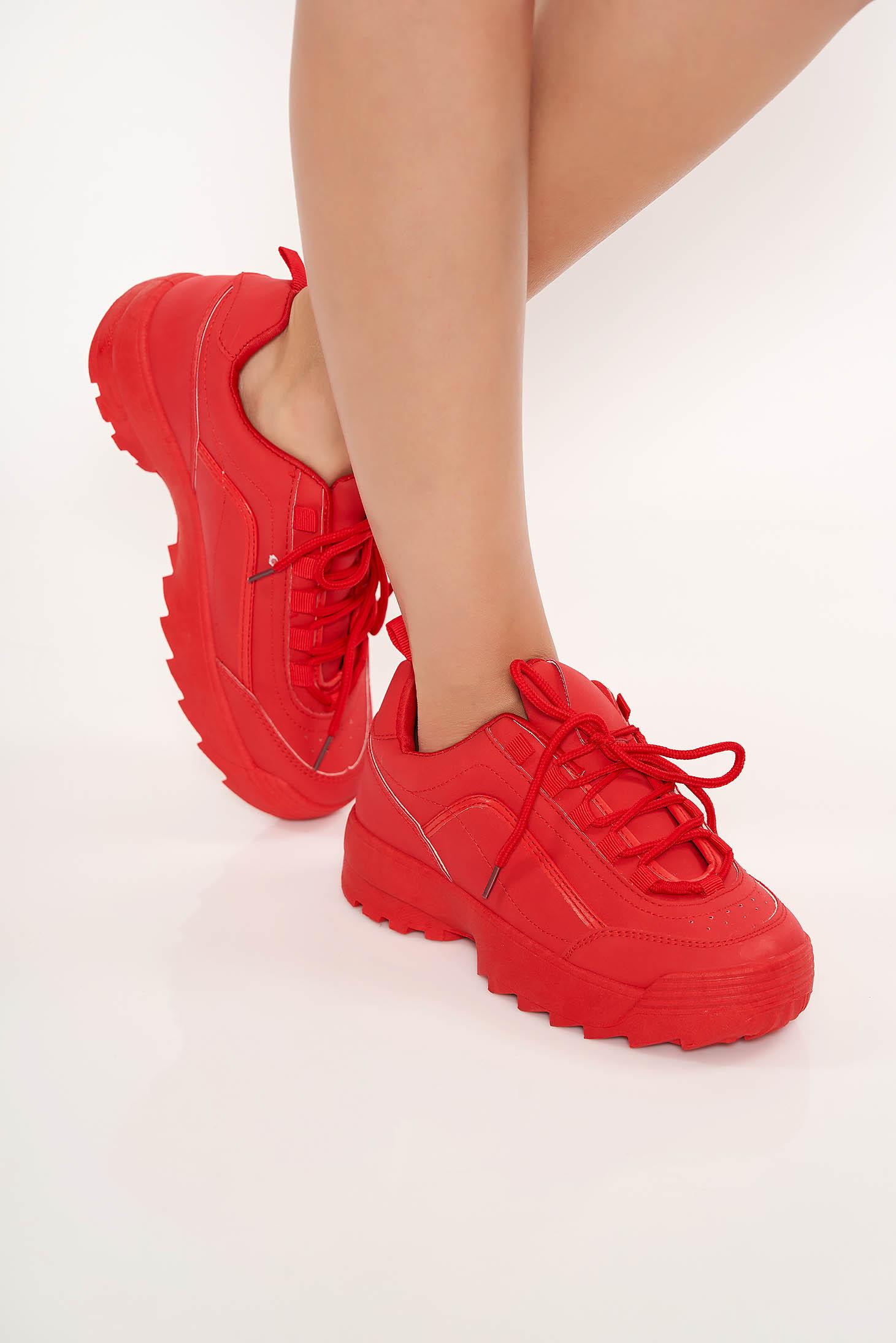 Pantofi sport rosii casual cu siret si talpa zimtata