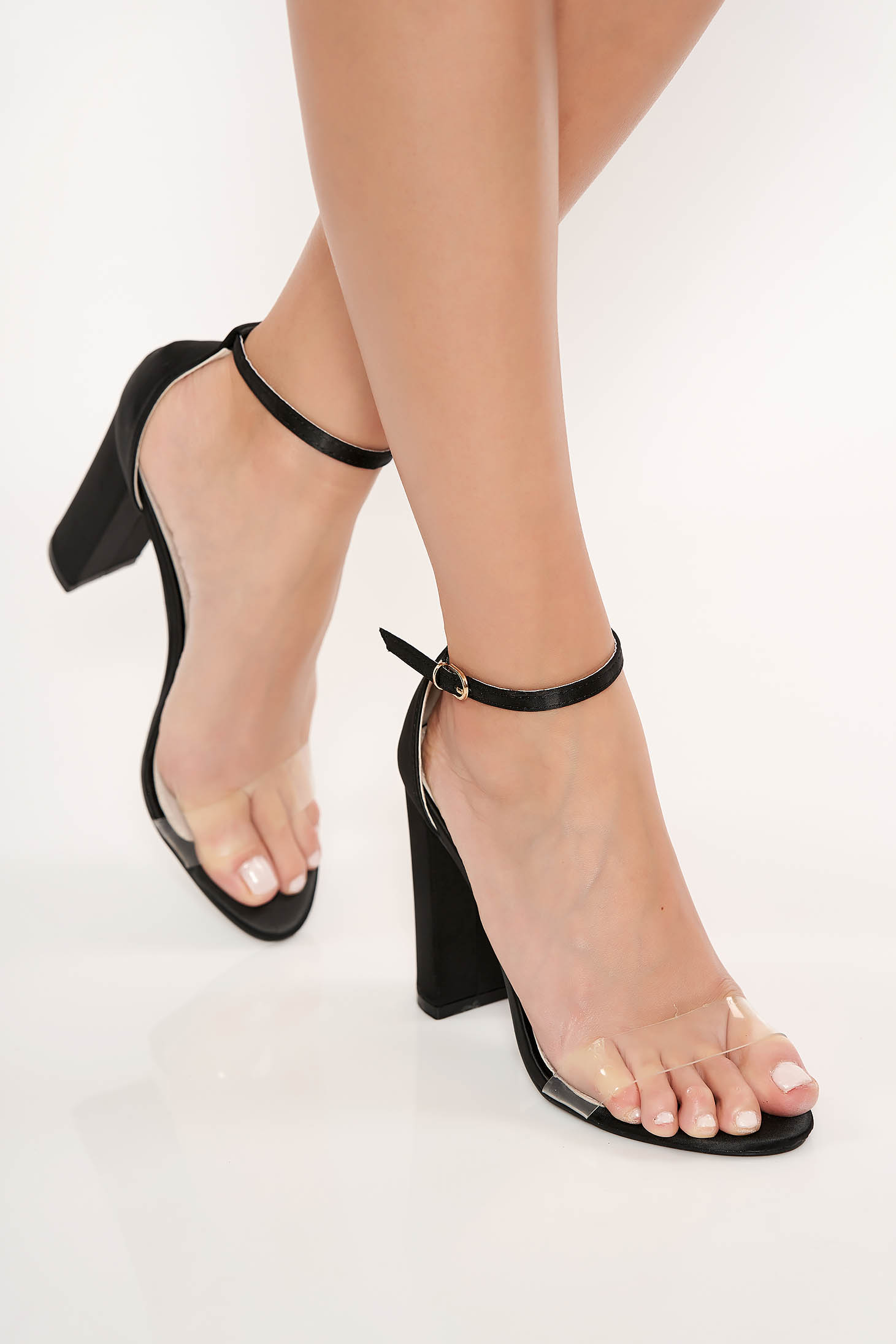 Black elegant sandals from ecological leather with thin straps chunky heel