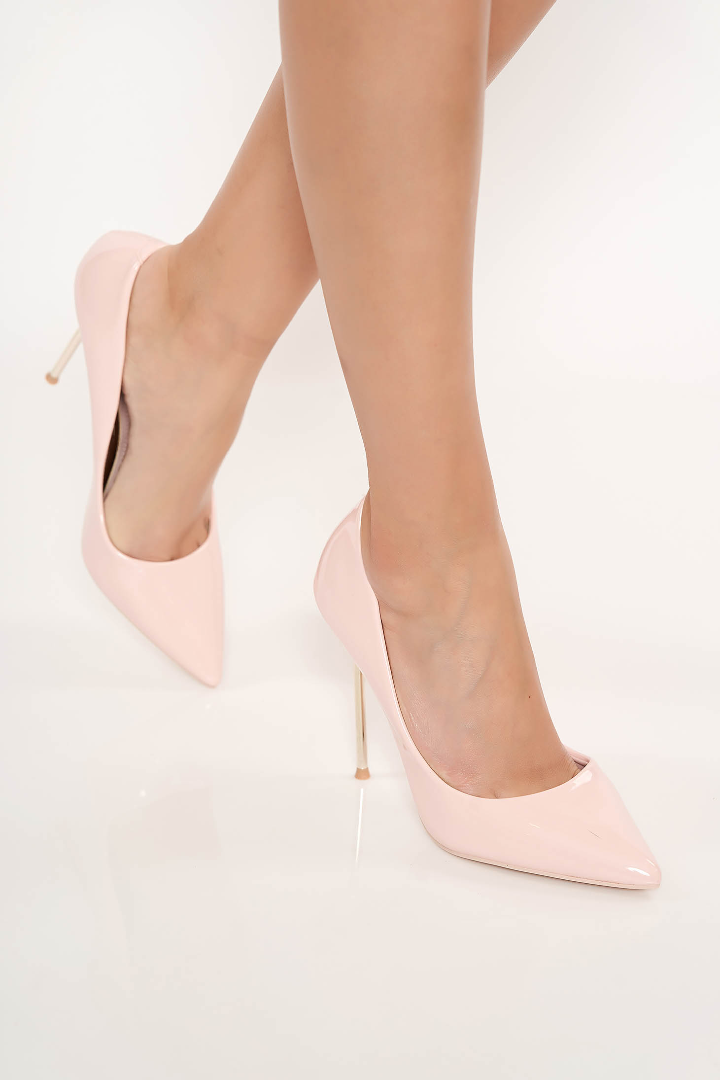 Lightpink elegant shoes from ecological varnished leather slightly pointed toe tip with high heels
