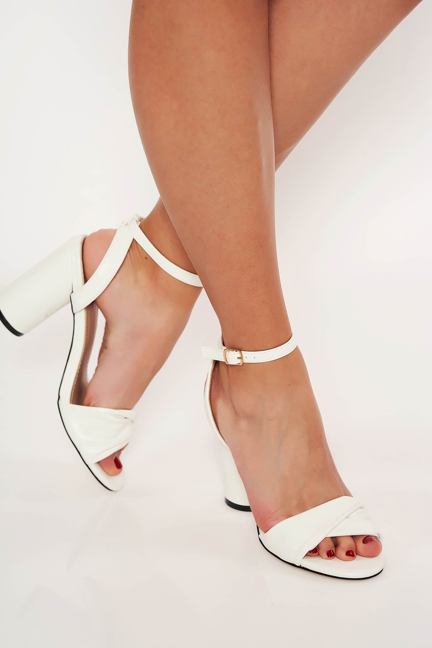 White elegant sandals chunky heel front cut-out design