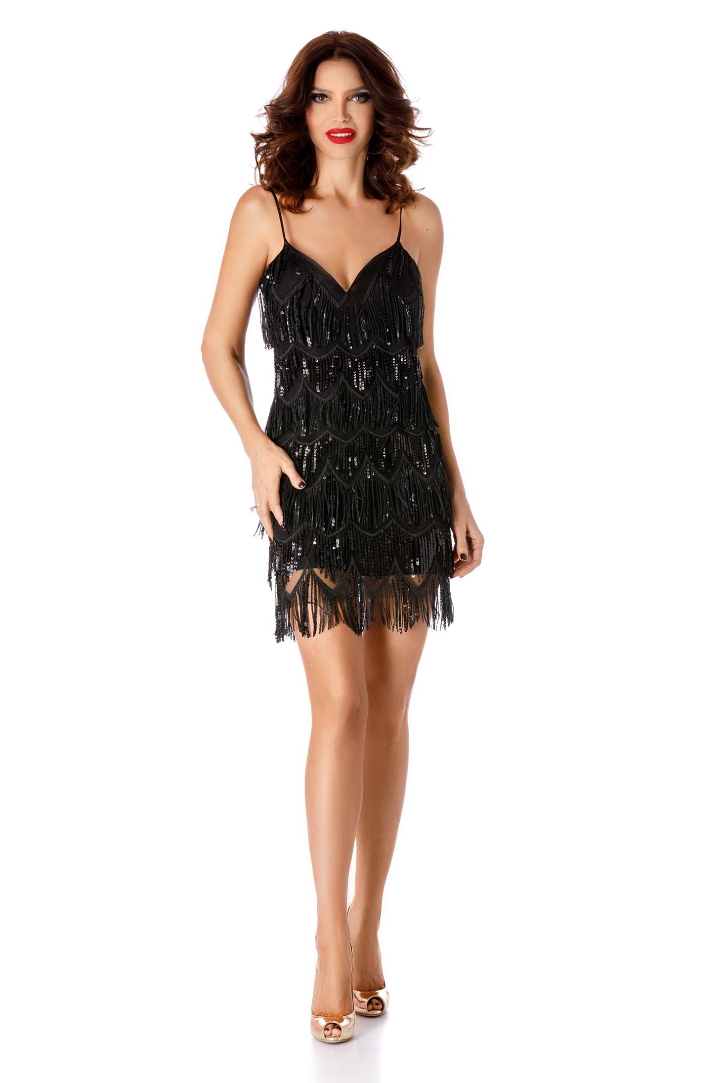 Fekete alkalmi flitteres pántos rövid ruha béléssel