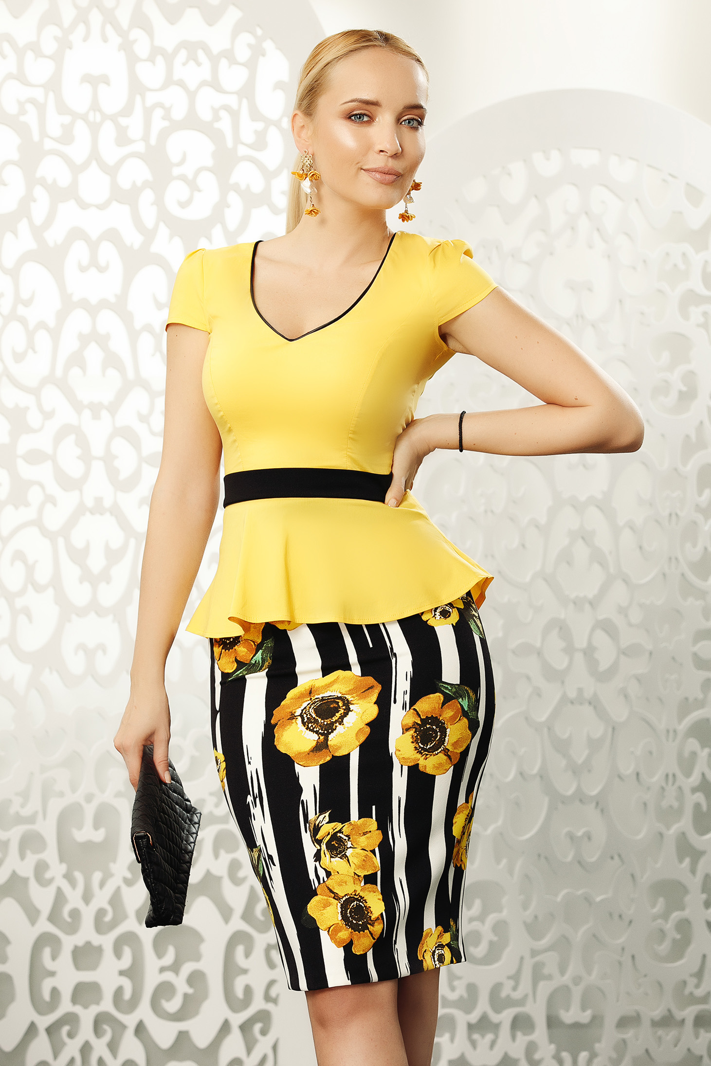 Fofy yellow women`s shirt office with tented cut slightly elastic cotton with button accessories