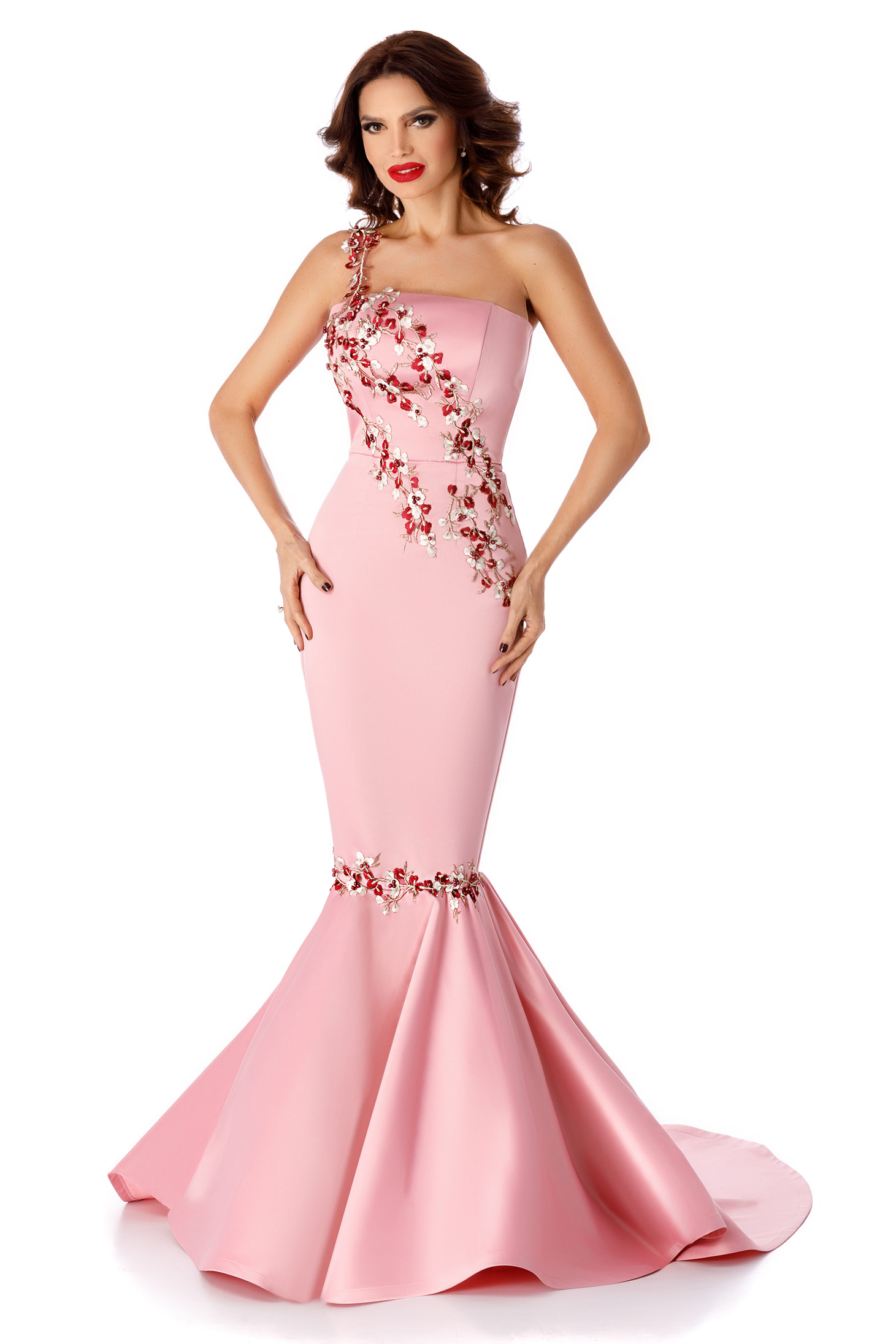 Pink dress mermaid cut sleeveless occasional with lace details