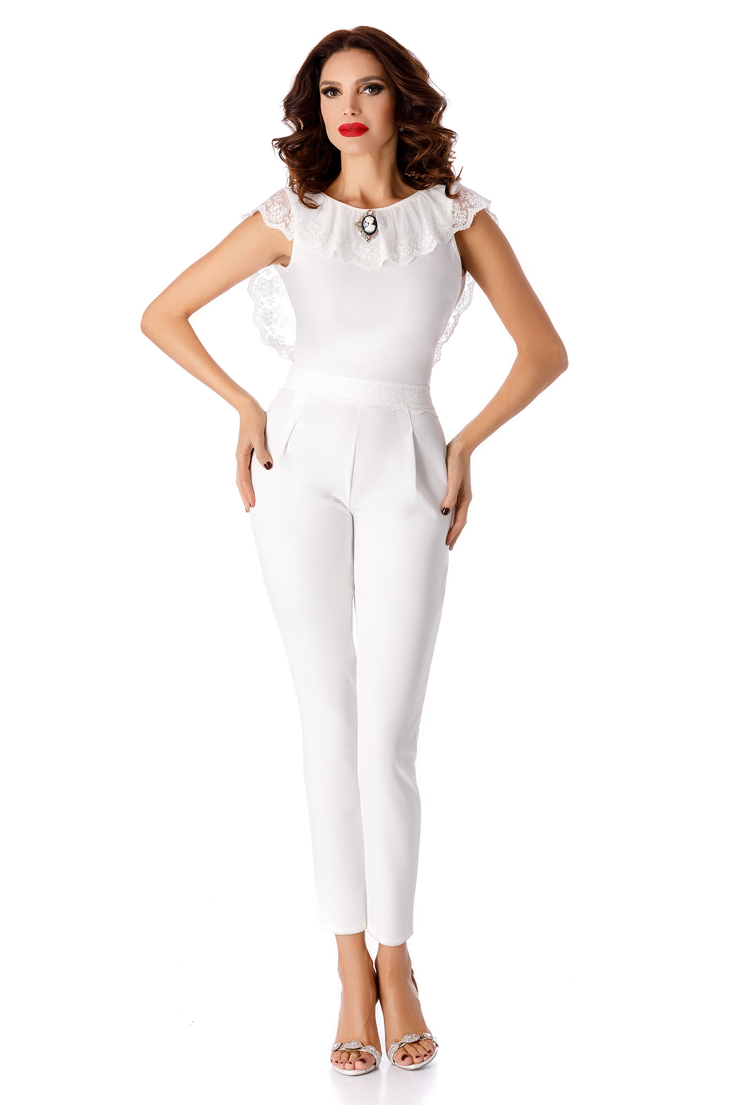White jumpsuit occasional elegant long