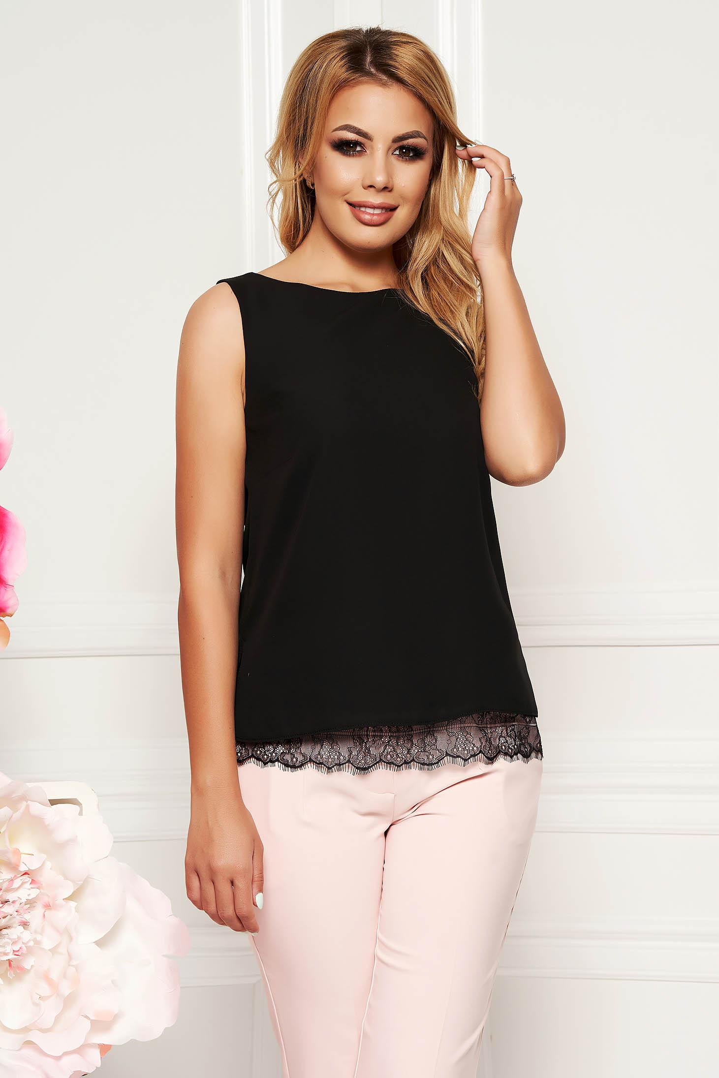 Bluza dama StarShinerS neagra eleganta cu croi larg din voal cu aplicatii de dantela