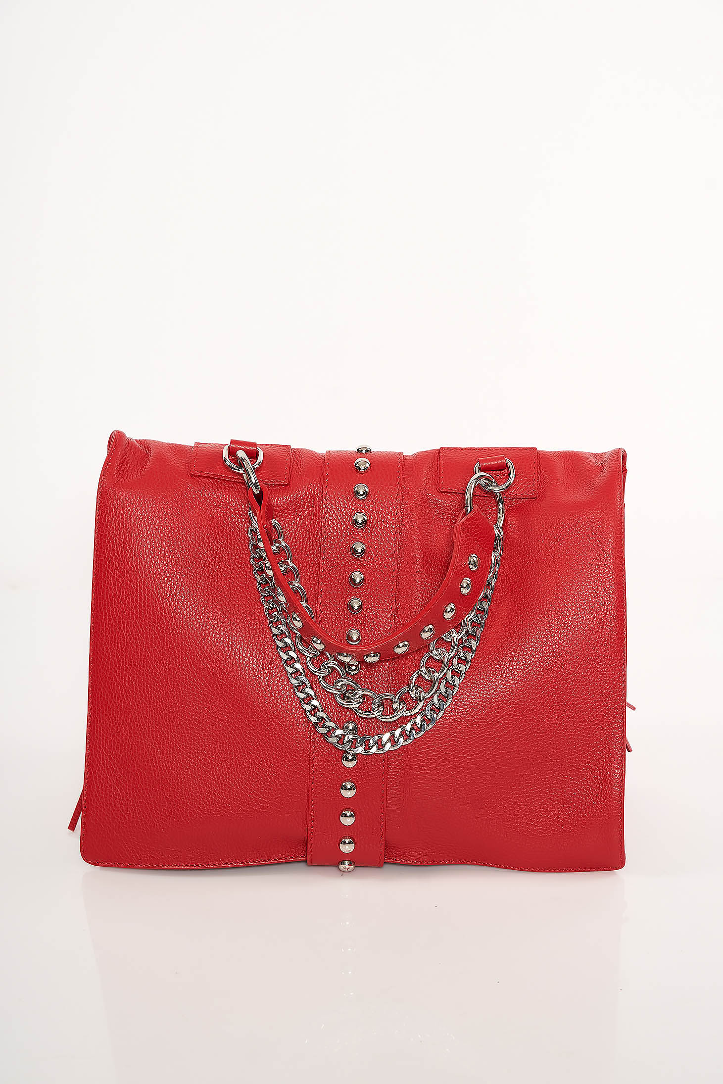Red bag casual with metallic spikes
