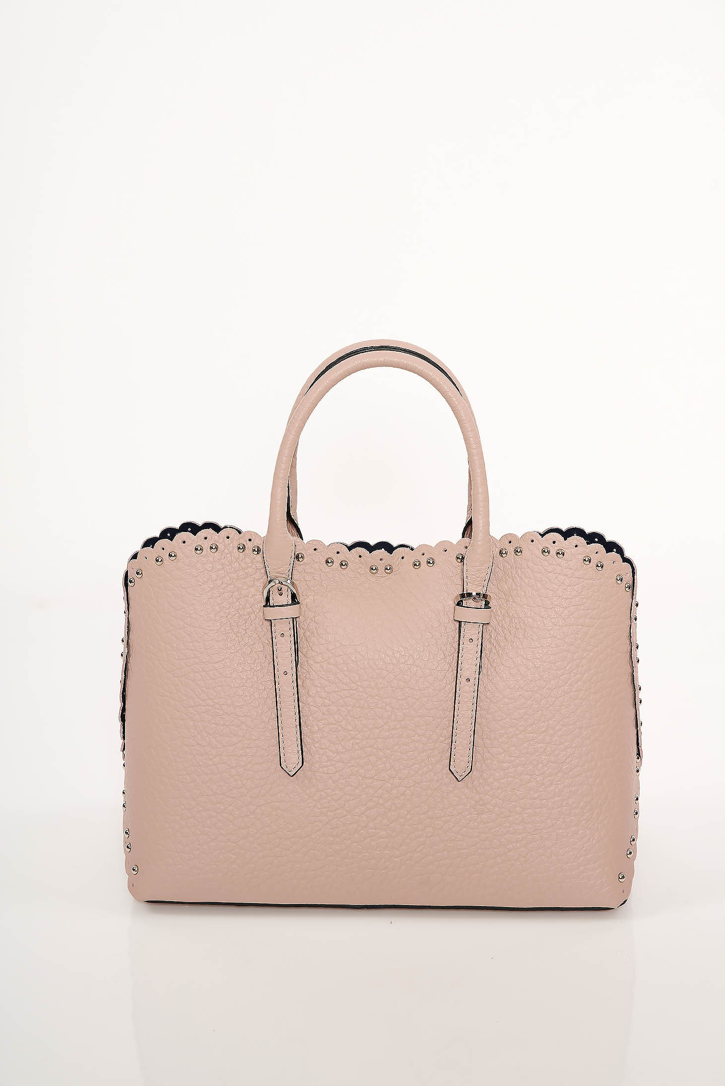 Lightpink office bag natural leather with metallic spikes short handles