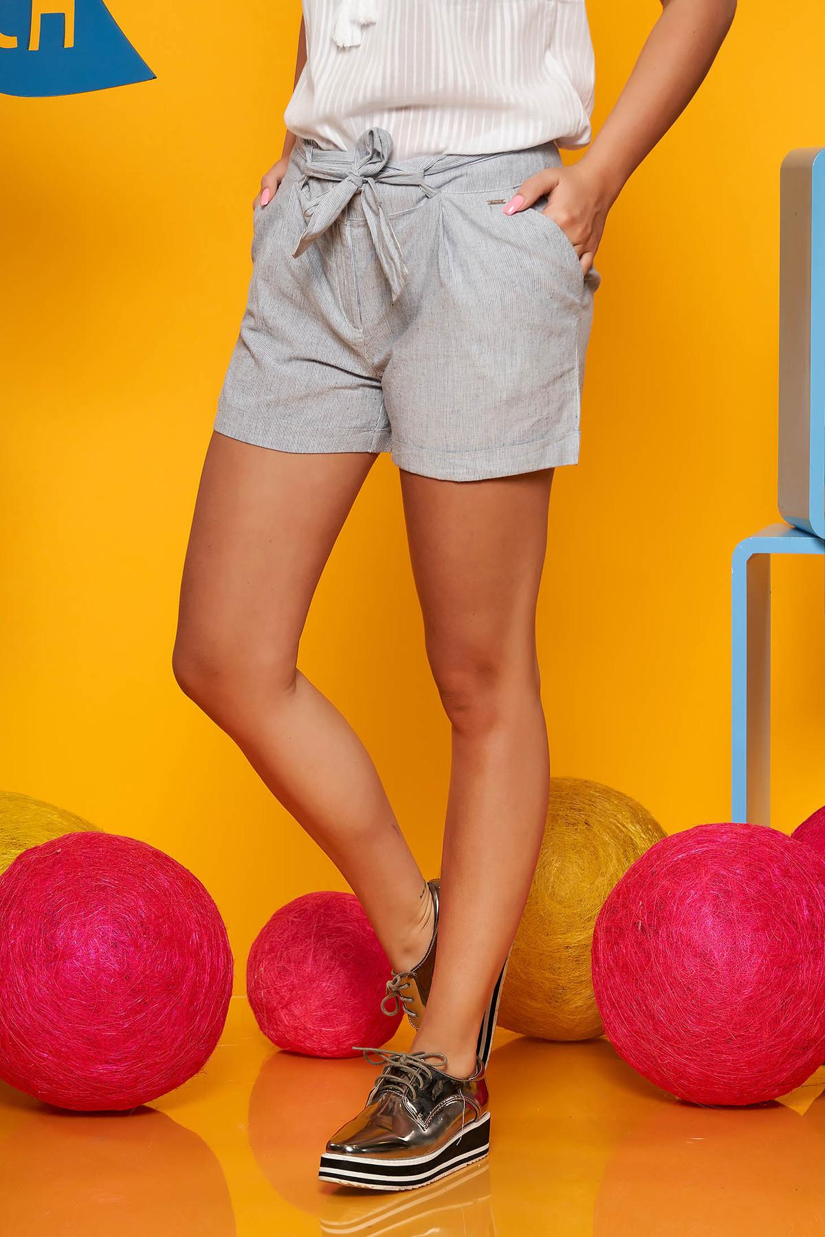 Pantalon scurt Top Secret Gri deschis  casual din bumbac neelastic cu talie medie