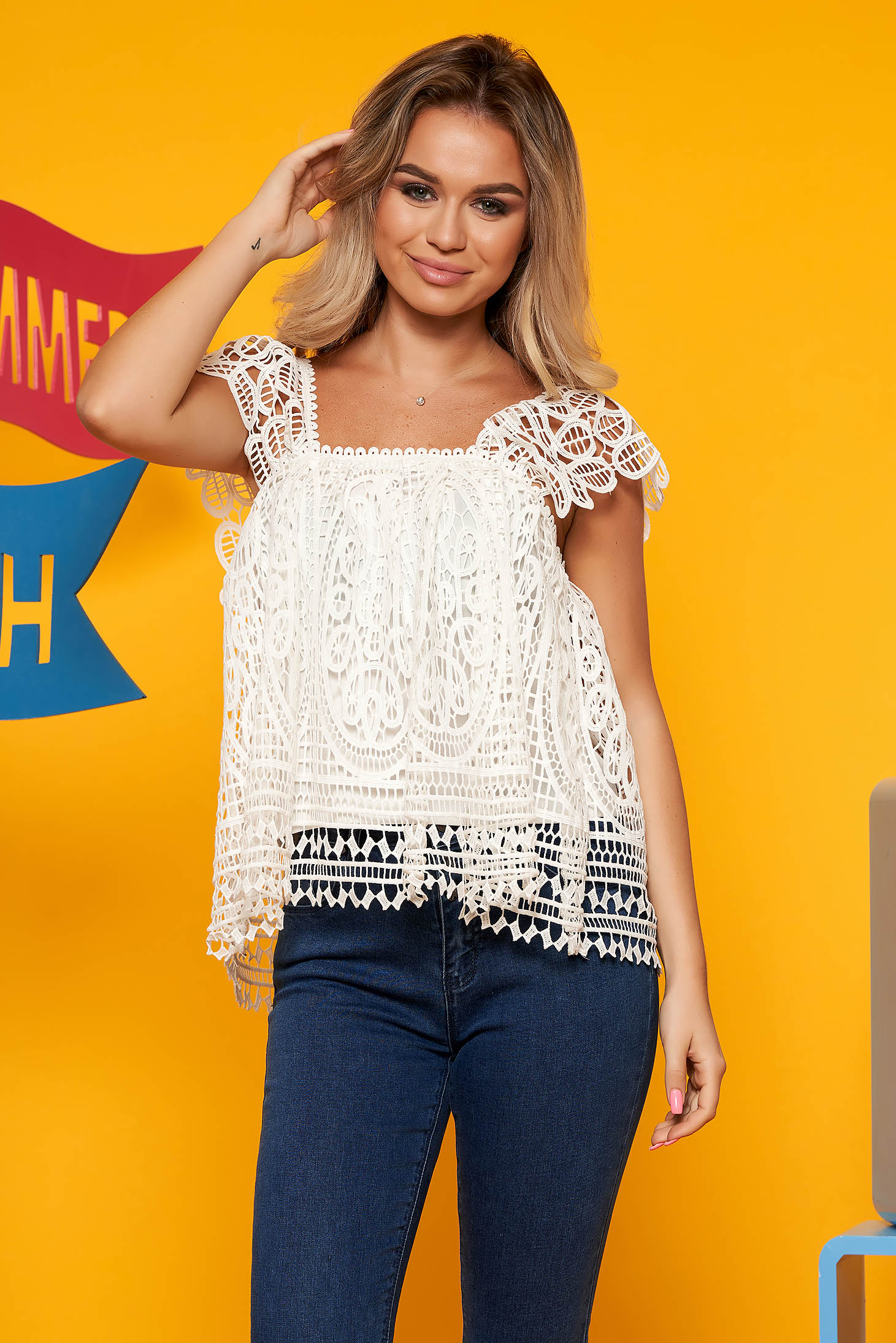 Top Secret white casual laced flared women`s blouse with straps