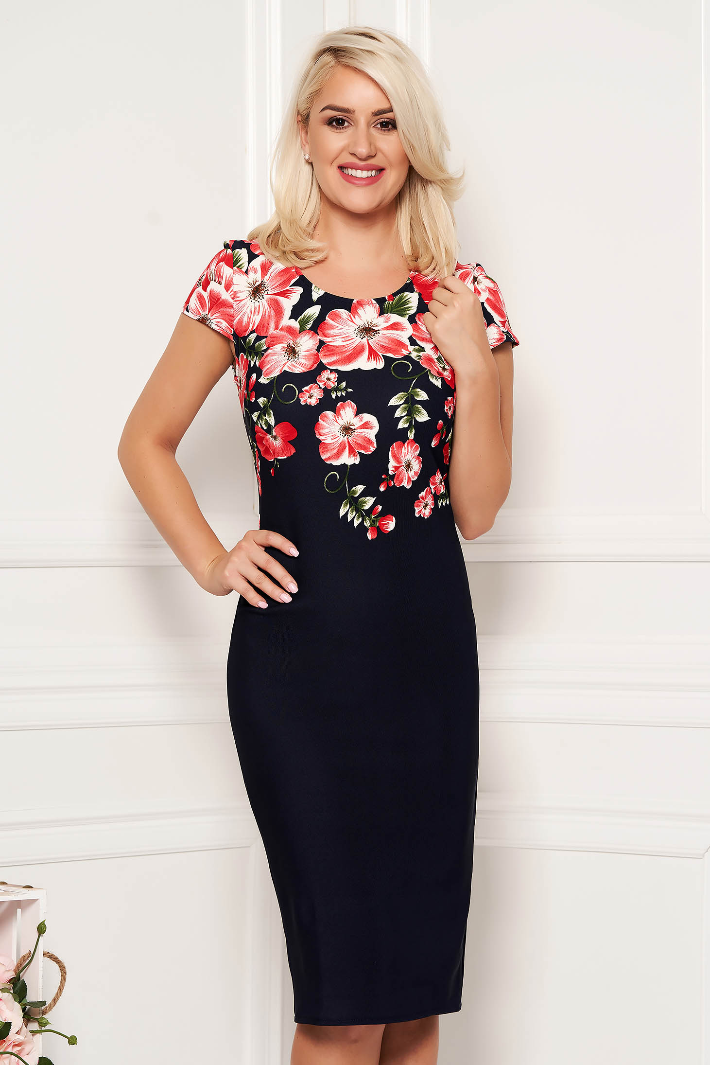 Darkblue daily midi pencil dress from elastic fabric with floral print