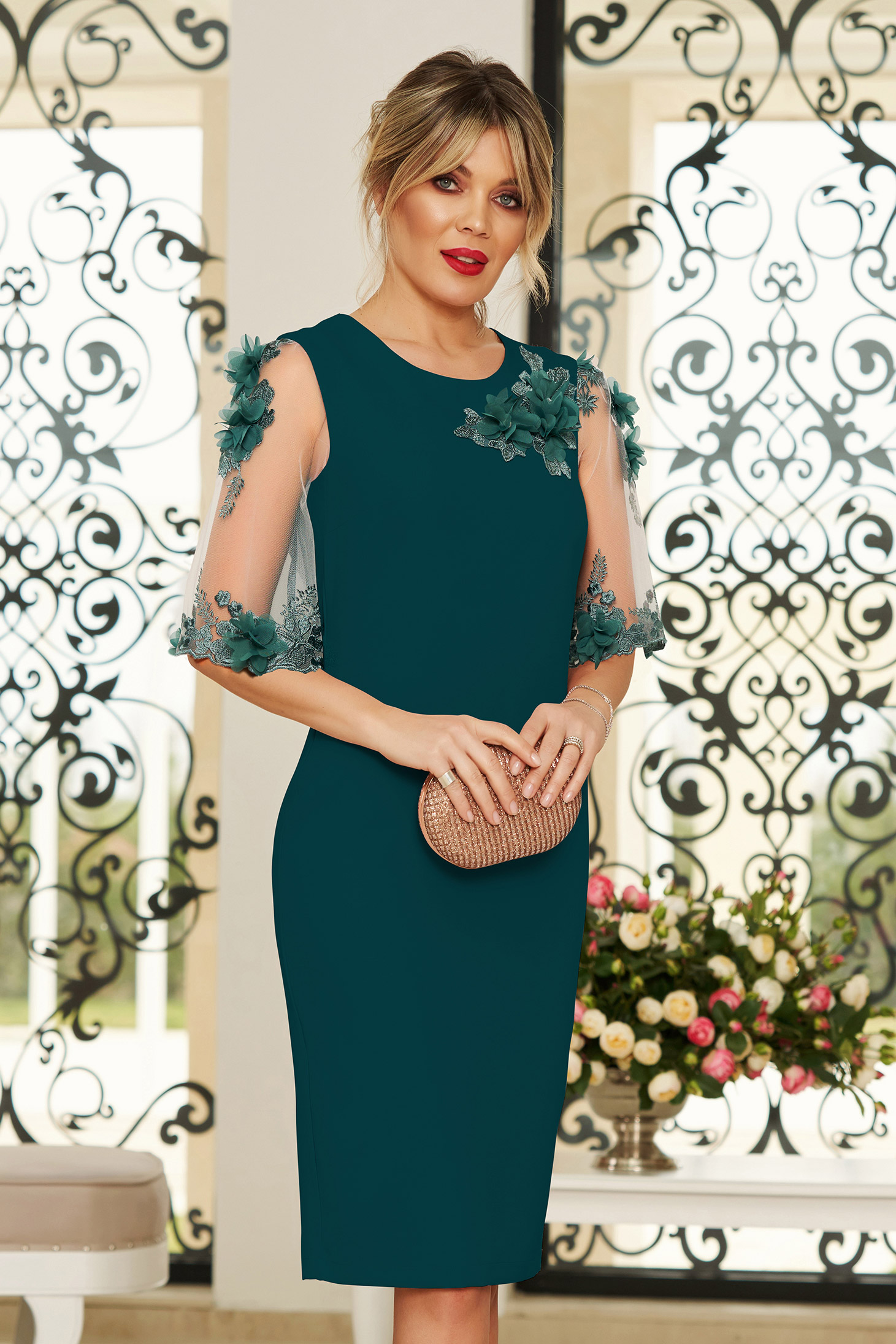 StarShinerS green elegant midi dress with tented cut slightly elastic fabric with floral details handmade details with crystal embellished details