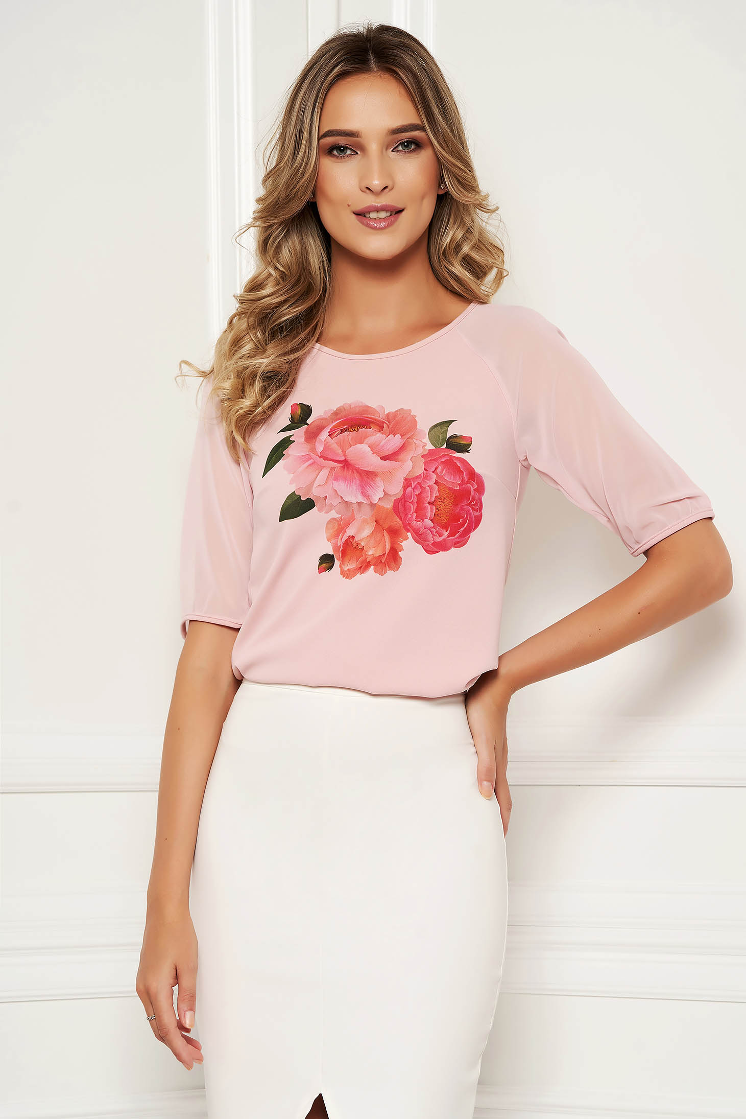 StarShinerS lightpink women`s blouse elegant with floral print with veil sleeves with 3/4 sleeves from elastic fabric