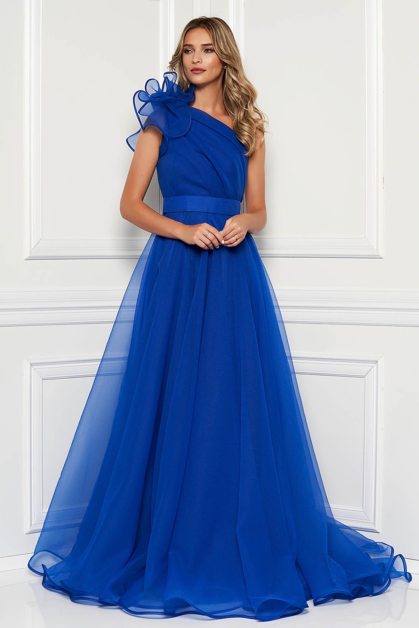 Kék Ana Radu luxus egy vállas deréktól bővülő szabású ruha béléssel övvel ellátva