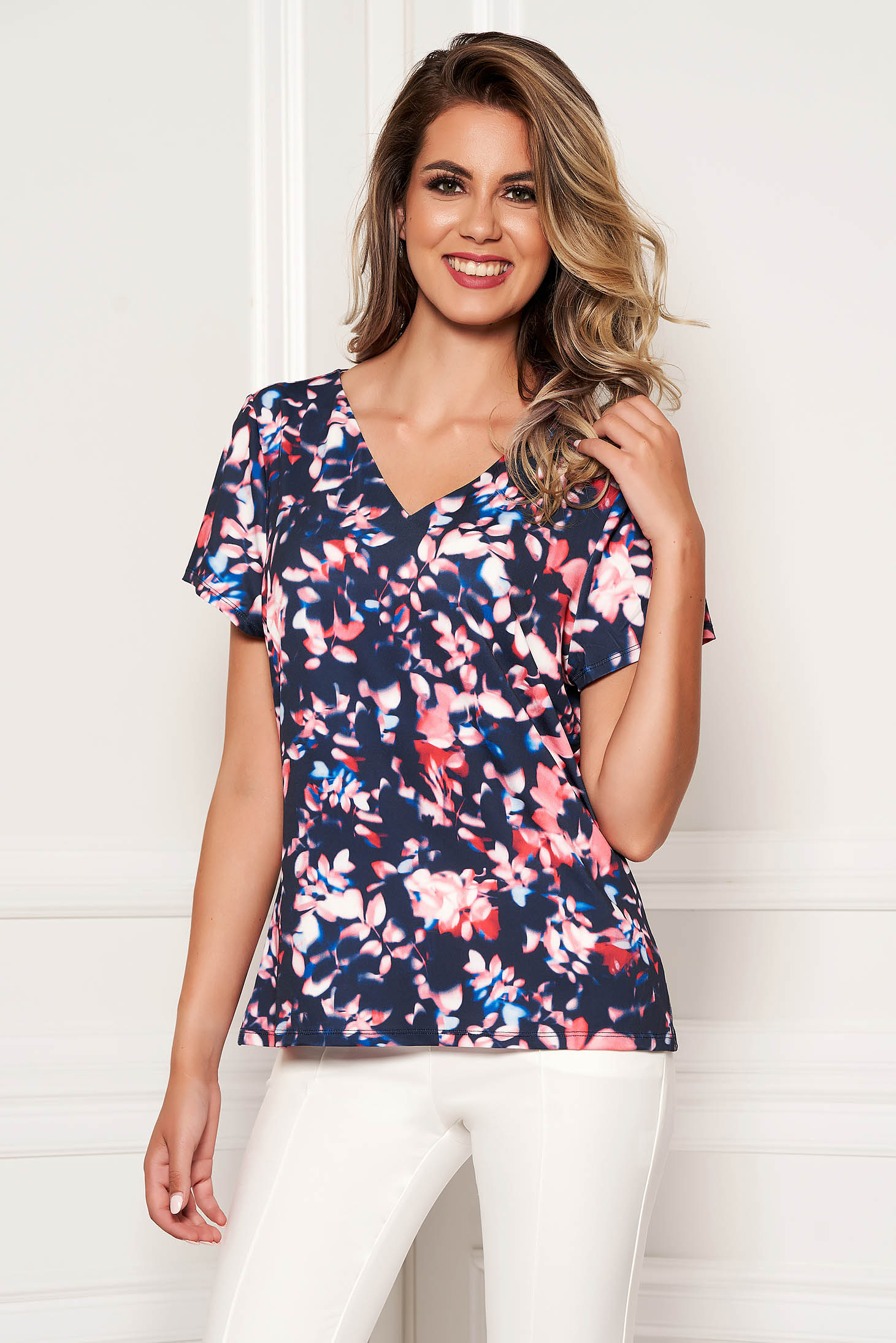 Darkblue women`s blouse with floral prints short sleeve casual with v-neckline