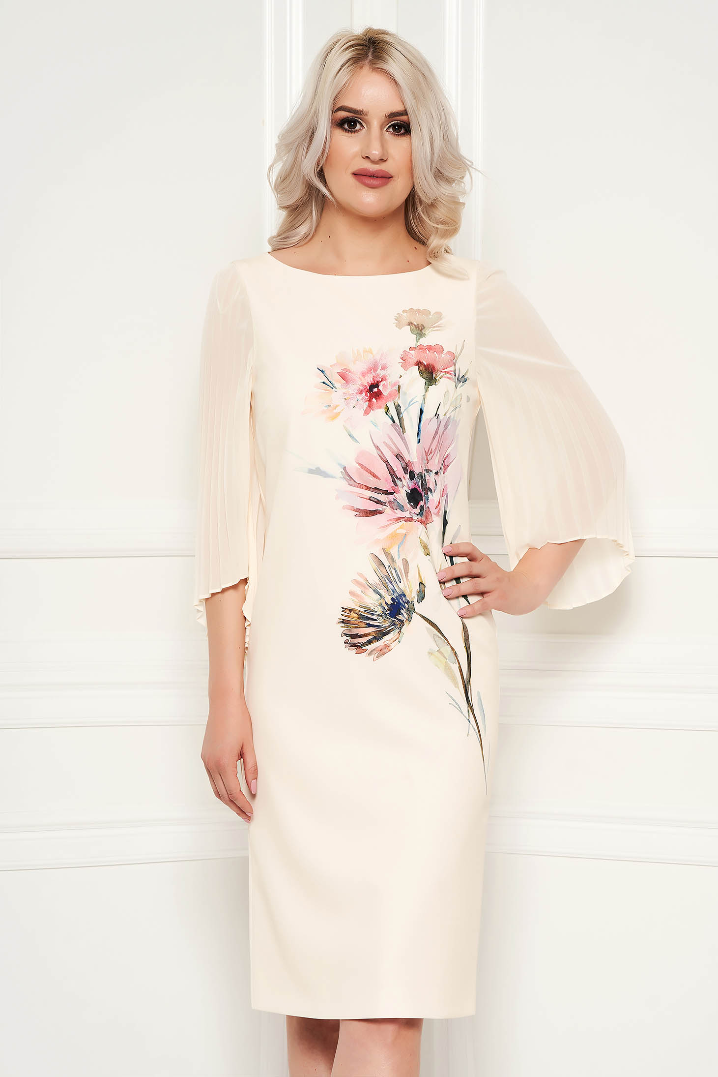 Cream dress elegant pencil midi with floral prints occasional with veil sleeves