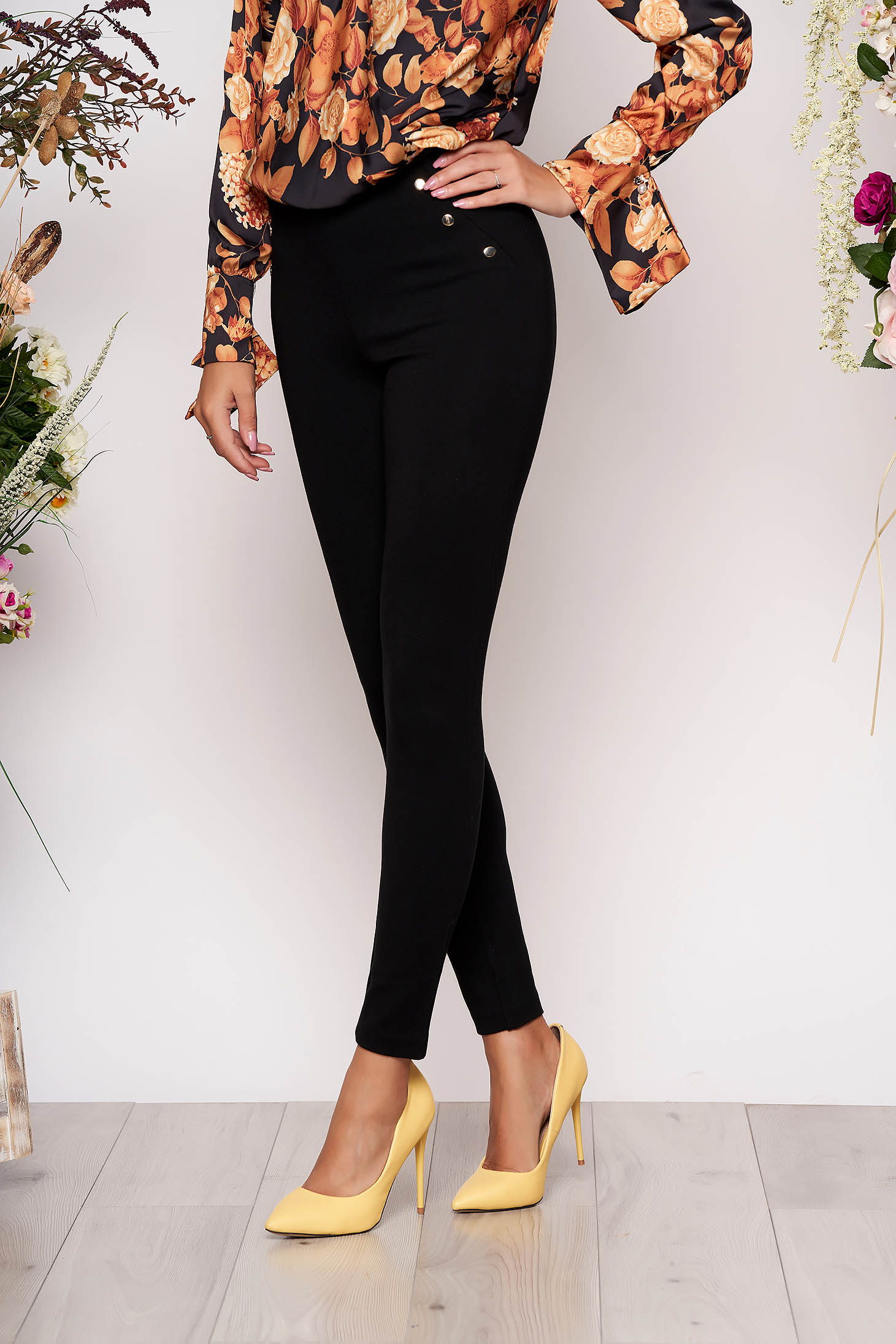 Black tights with metal accessories high waisted long thick fabric