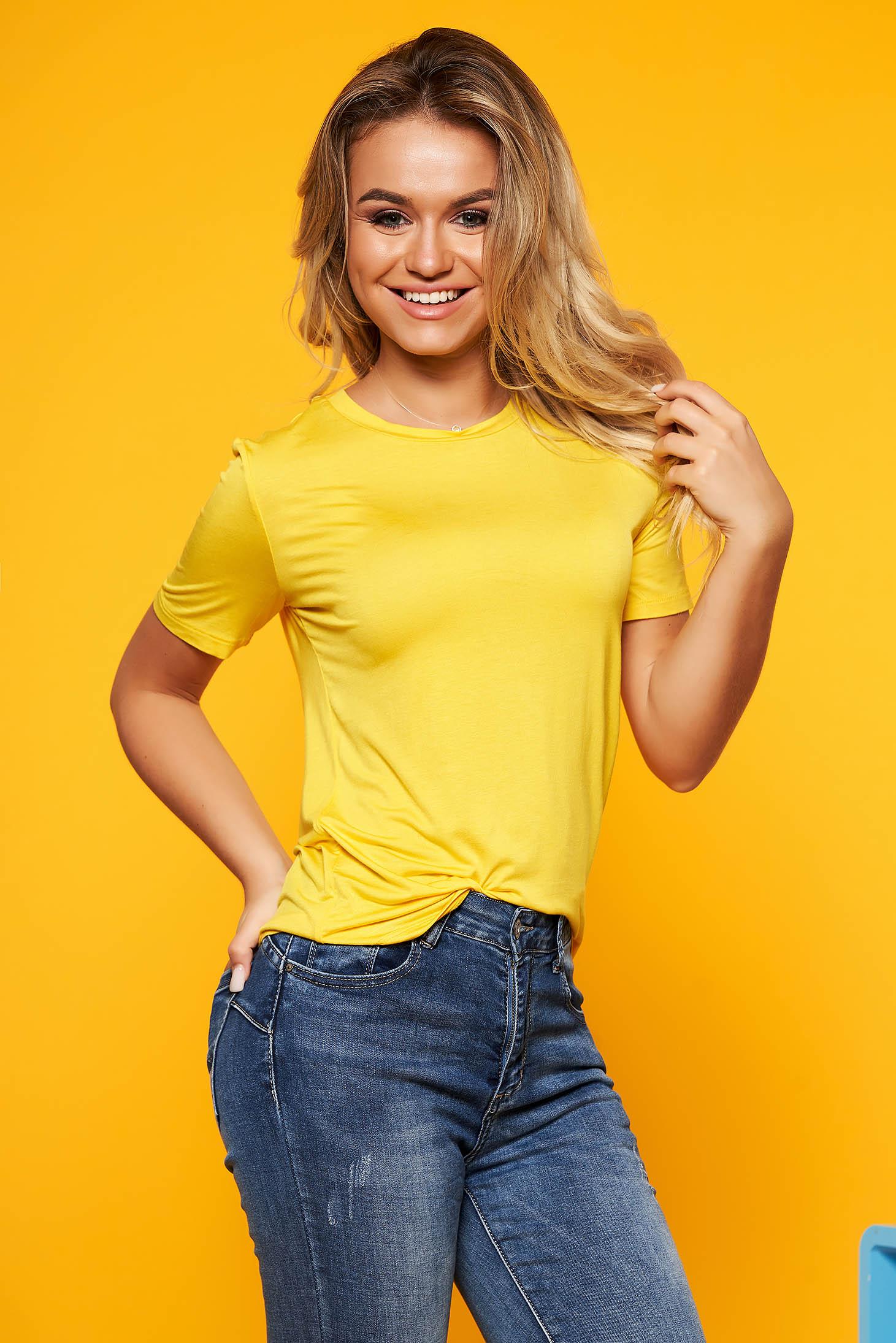 Tricou SunShine galben casual din material vaporos cu croi larg si maneca scurta