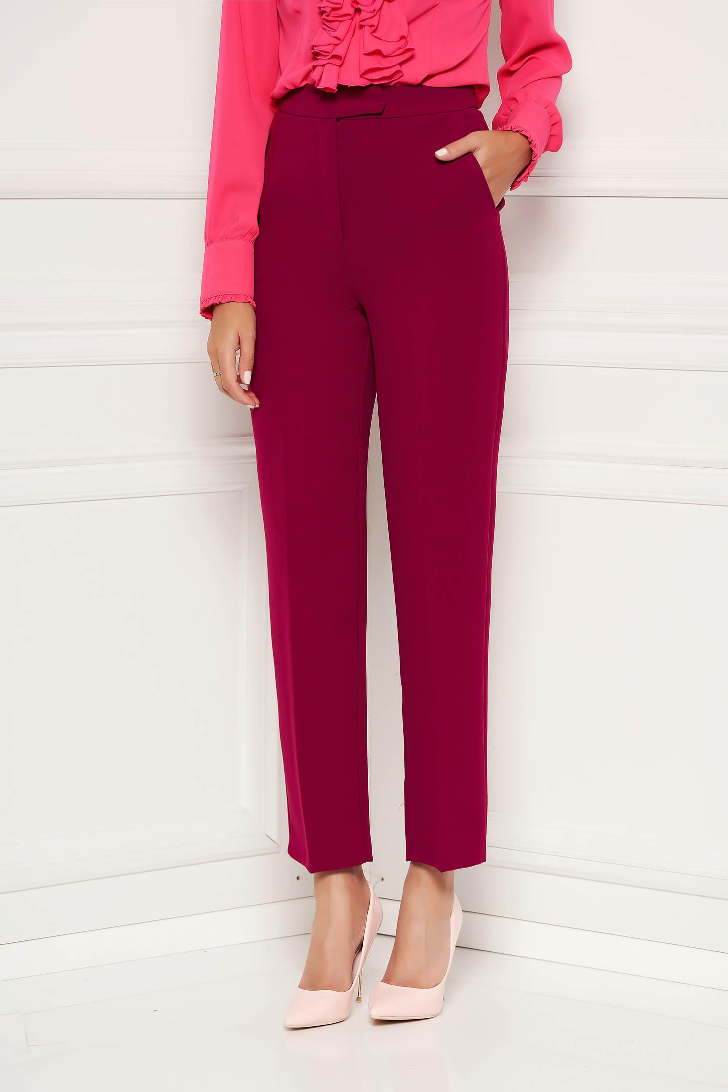 Pantaloni SunShine fuchsia cu un croi drept eleganti cu buzunare si talie medie