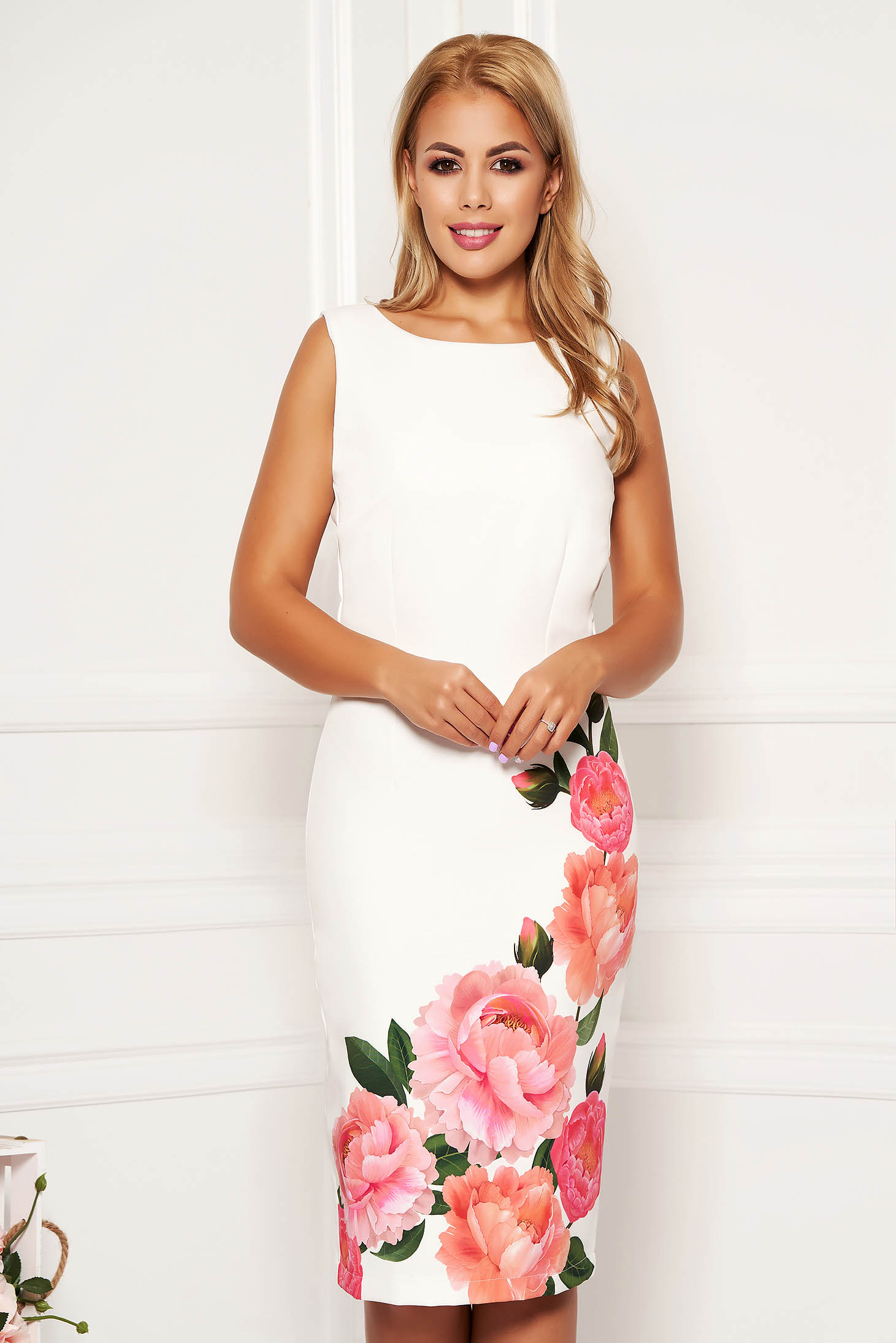 StarShinerS white dress elegant daily midi pencil with floral print with cut back