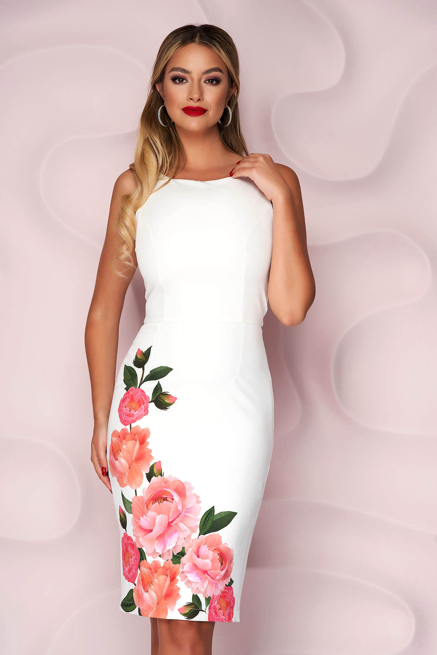 StarShinerS white dress elegant midi pencil with floral print with cut back cloth