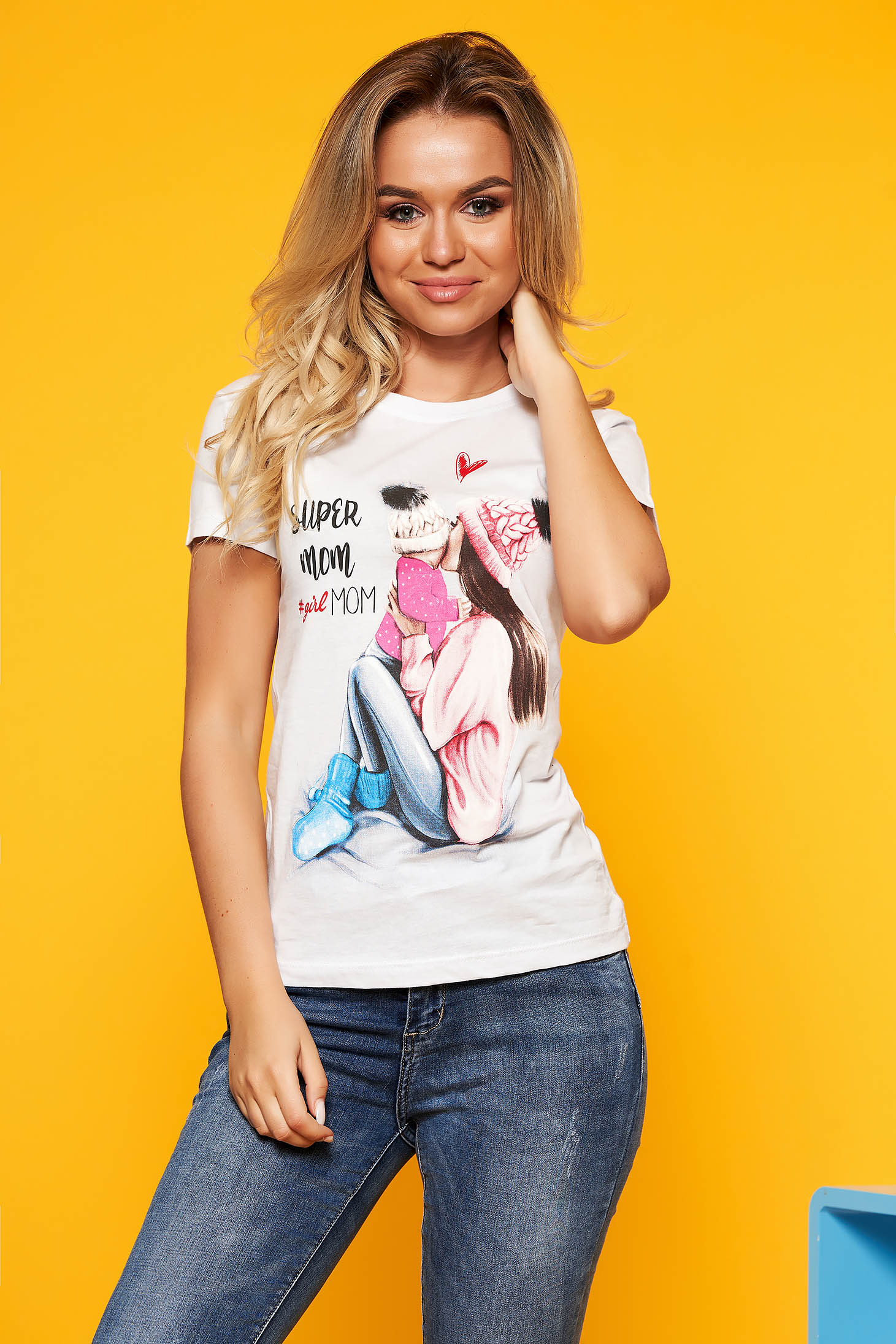 White casual flared short sleeve cotton t-shirt