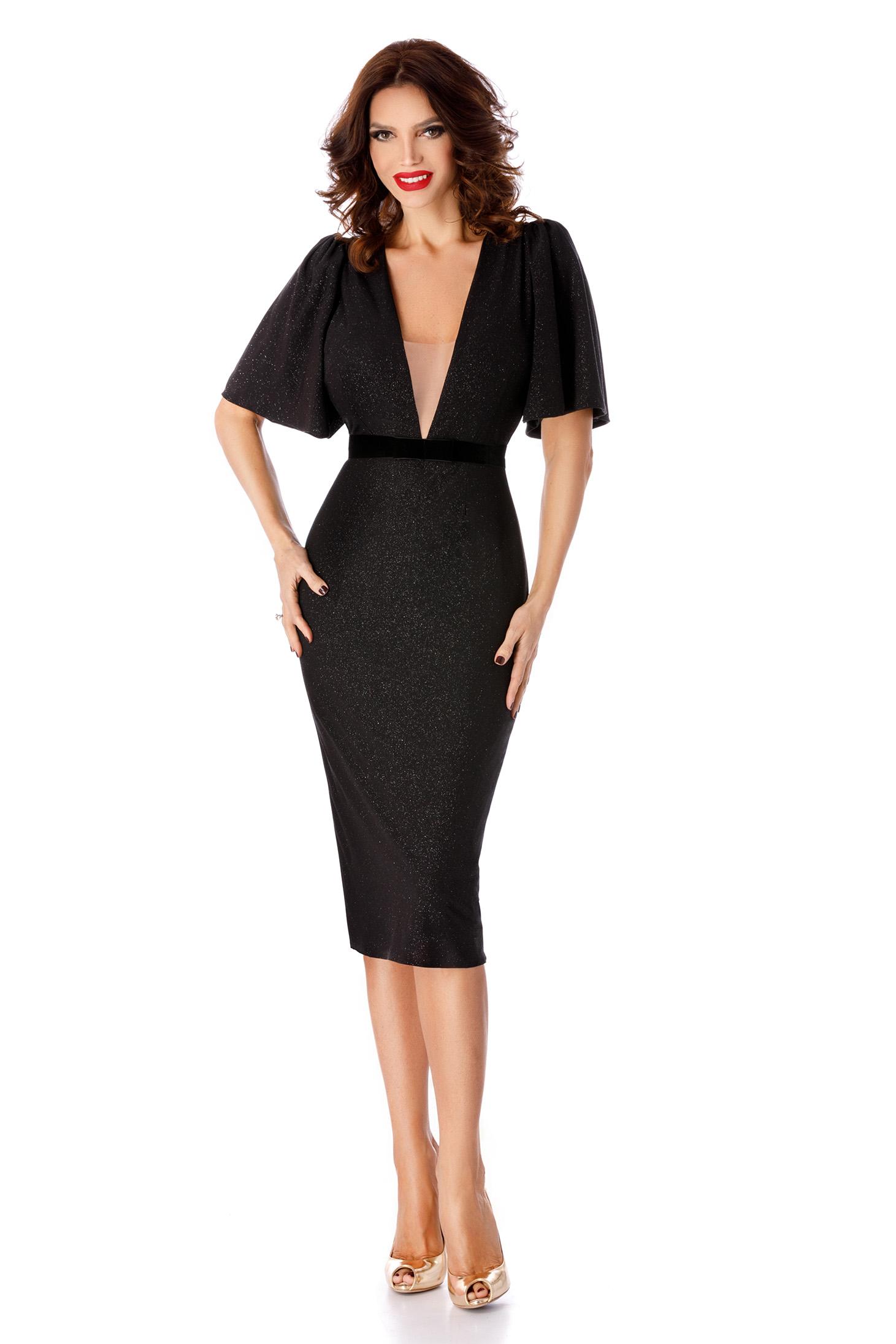 Rochie neagra eleganta midi cu un croi mulat cu decolteu din lurex cu maneca larga