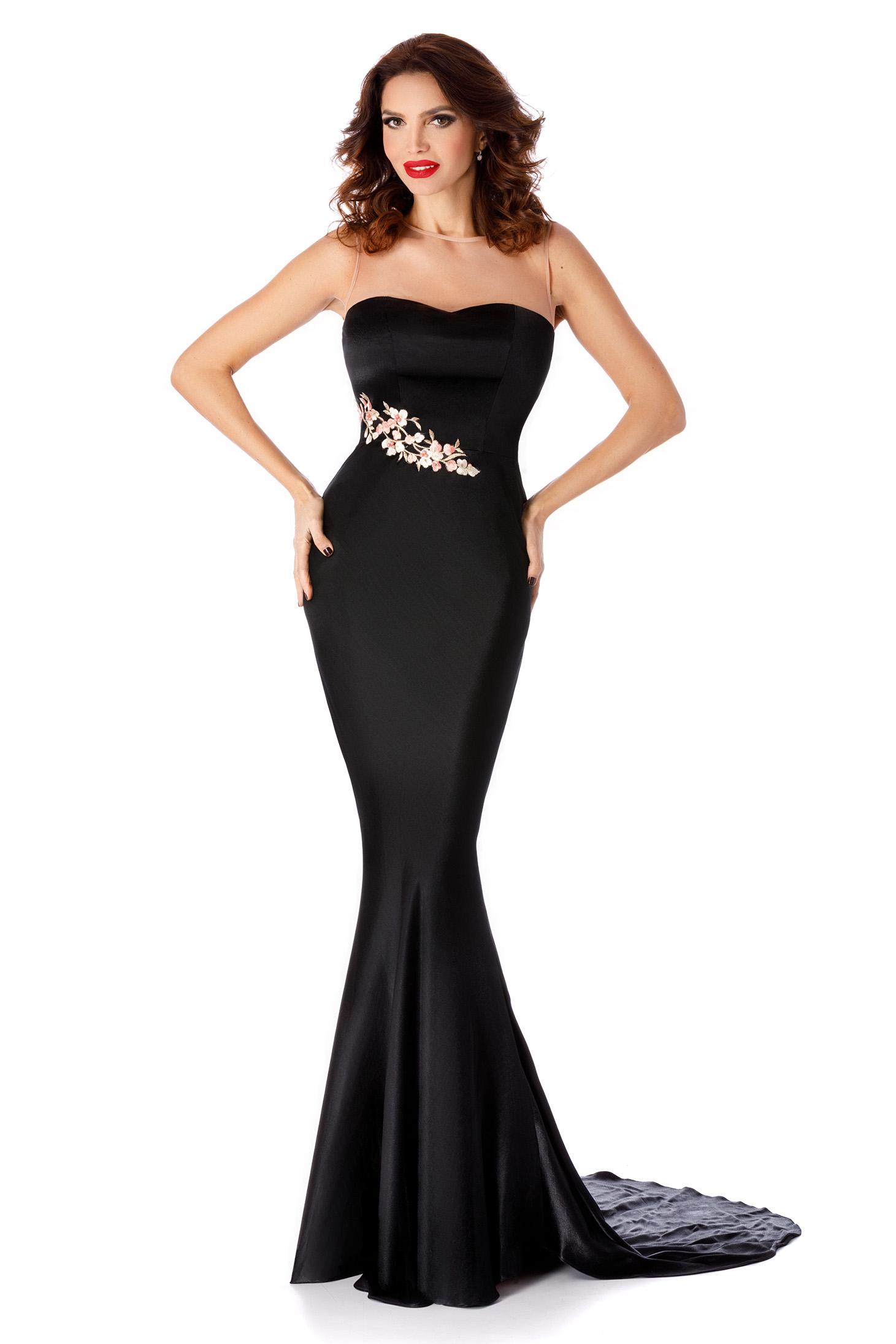 Fekete alkalmi váll nélküli szirén tipusú ruha csipke díszítéssel