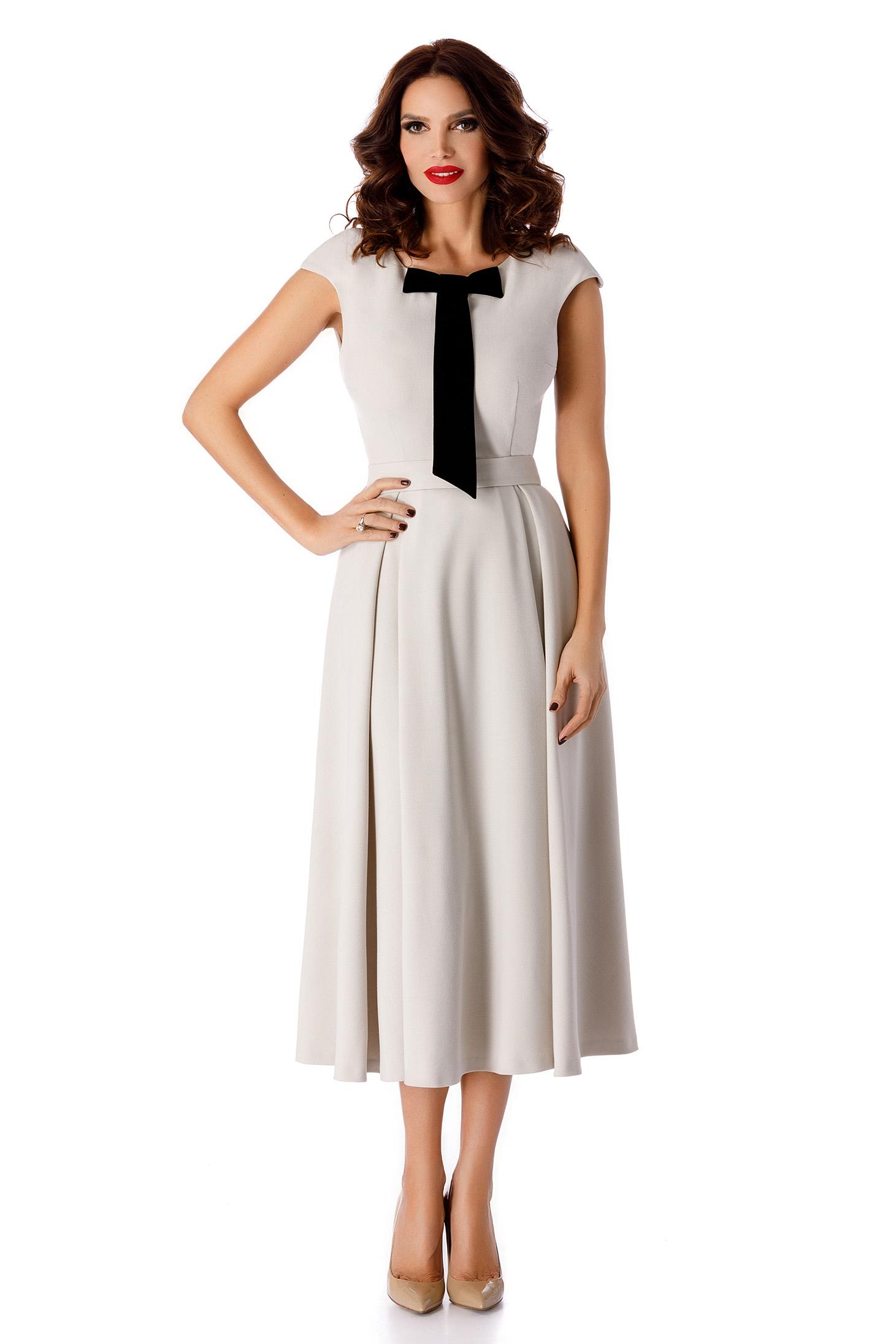 Grey occasional midi cloche dress bow accessory