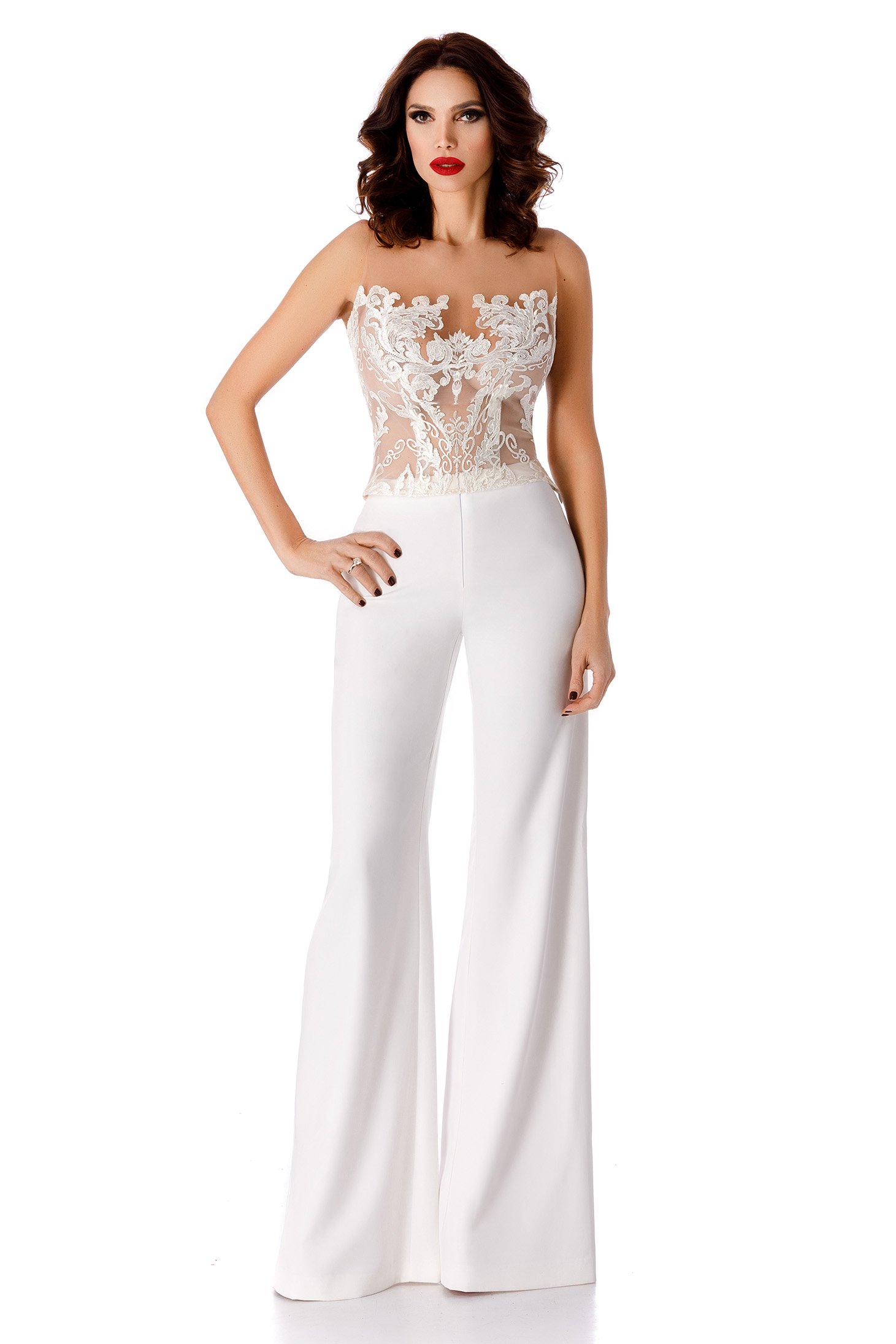 Pantaloni albi eleganti cu talie inalta evazati din stofa subtire usor elastica