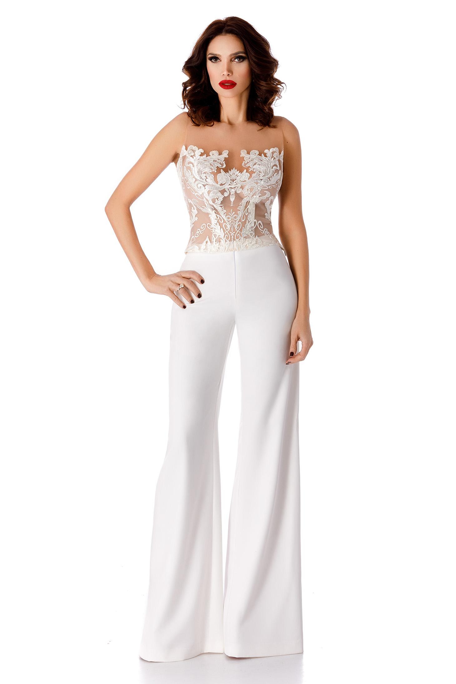 White elegant trousers high waisted flared slightly elastic fabric
