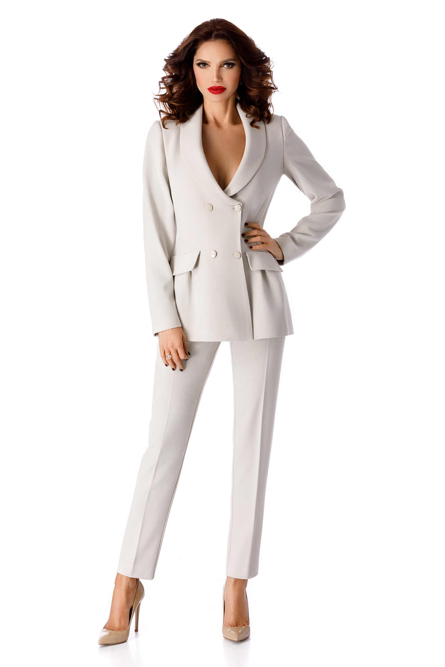 Grey elegant flared jacket slightly elastic fabric with inside lining
